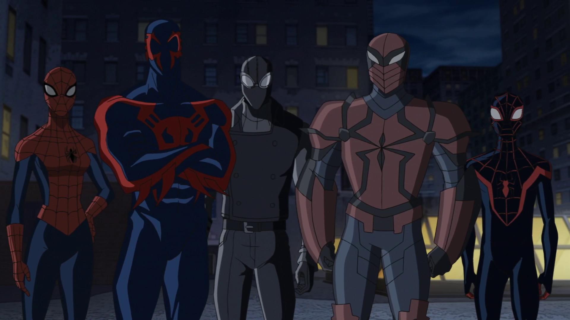 Image – Spider-Man 2099, Spider-Girl, Spider-Man Noir, Spyder-Knight, Miles  Morales USMWW.png | Disney Wiki | FANDOM powered by Wikia
