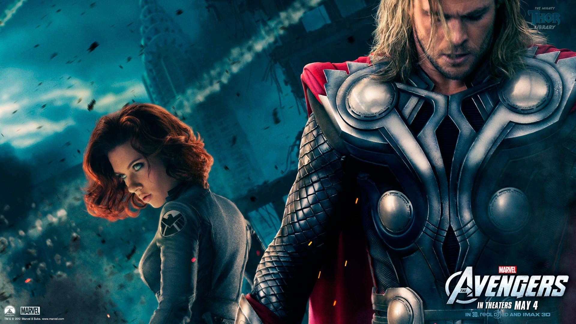 Thor and Black Widow from the Avengers movie (1920 x 1080) wallpaper
