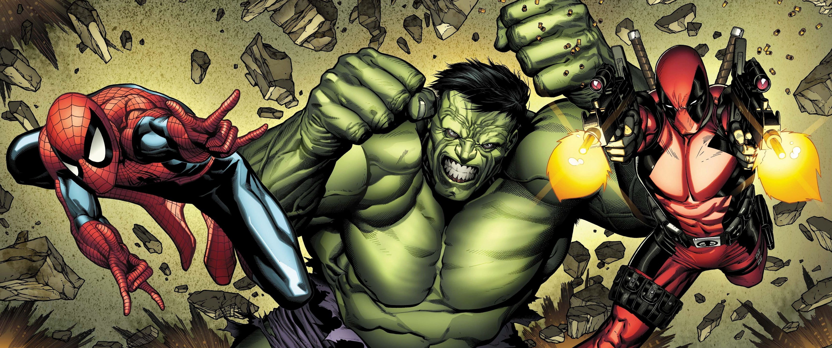 Hulk, Spider-man, Deadpool, Comics, Artwork, Marvel