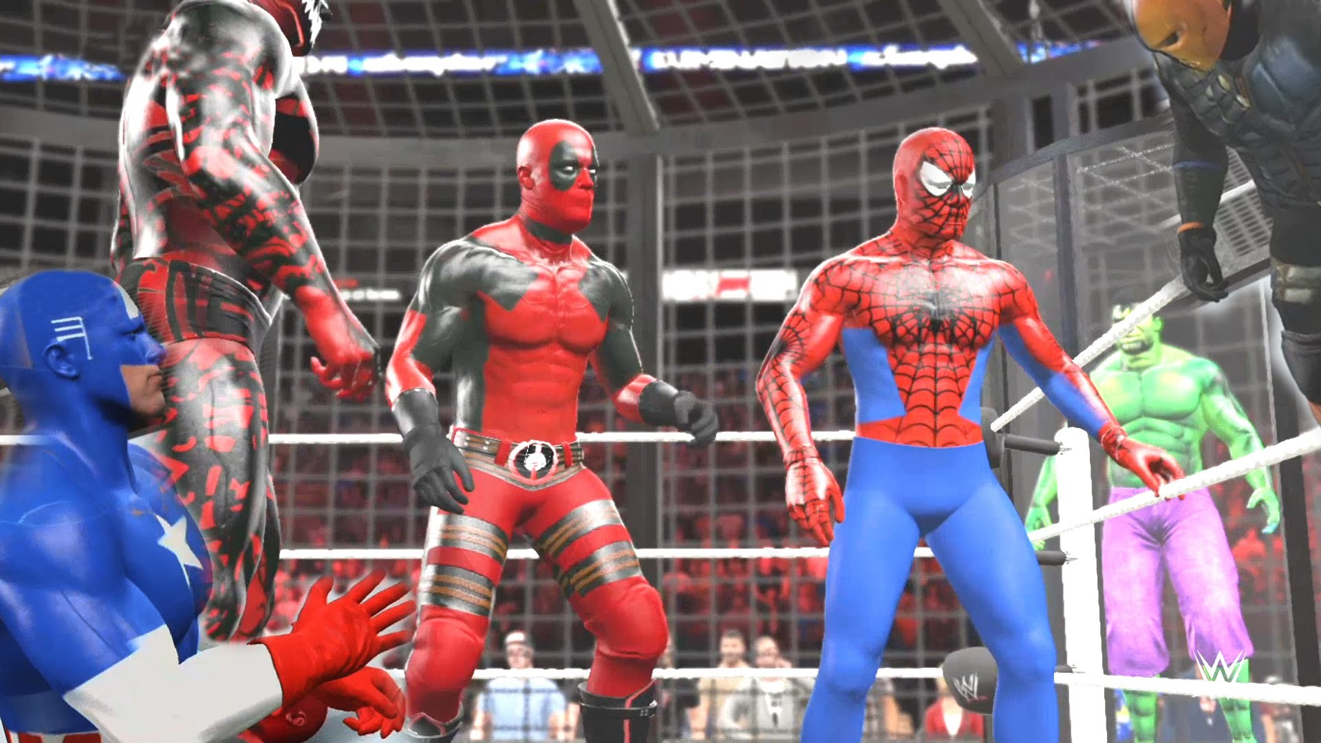 WWE 2K15 – Spiderman vs Carnage vs Deathstroke vs Deadpool vs Captain  America vs Incredible HULK – YouTube