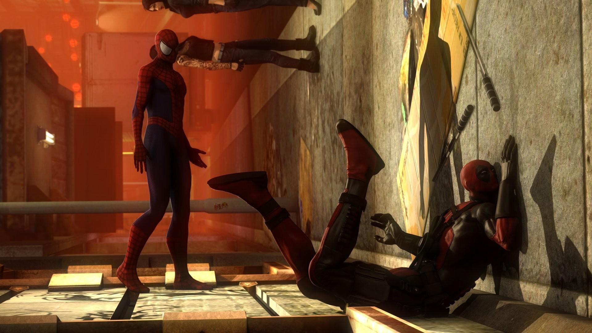 spider-man strike wall deadpool marvel comics