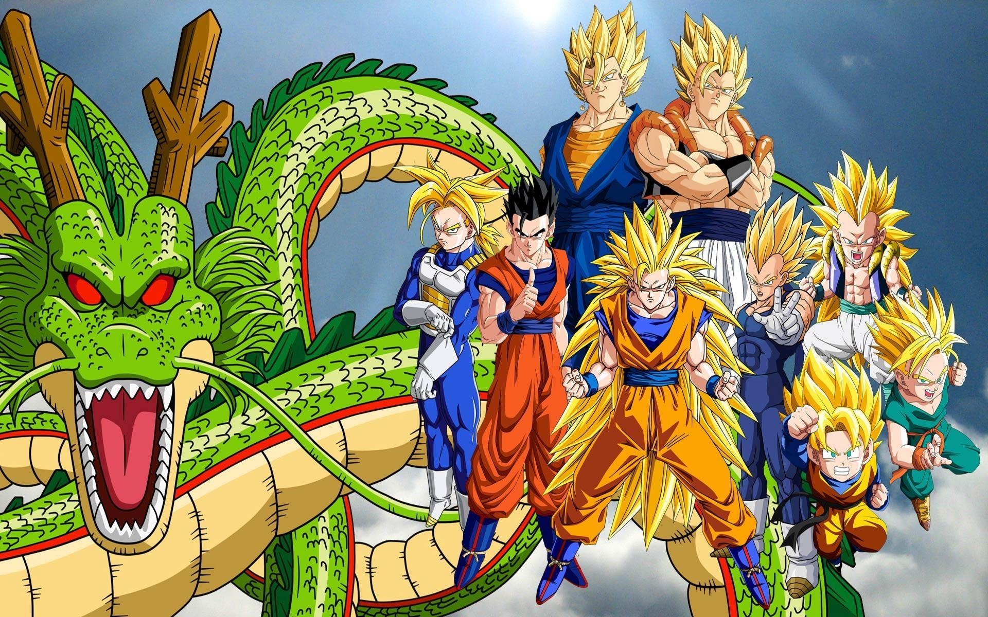 Dragon Ball, Super Saiyan, Trunks (character), Vegeta, Shenron, Gogeta