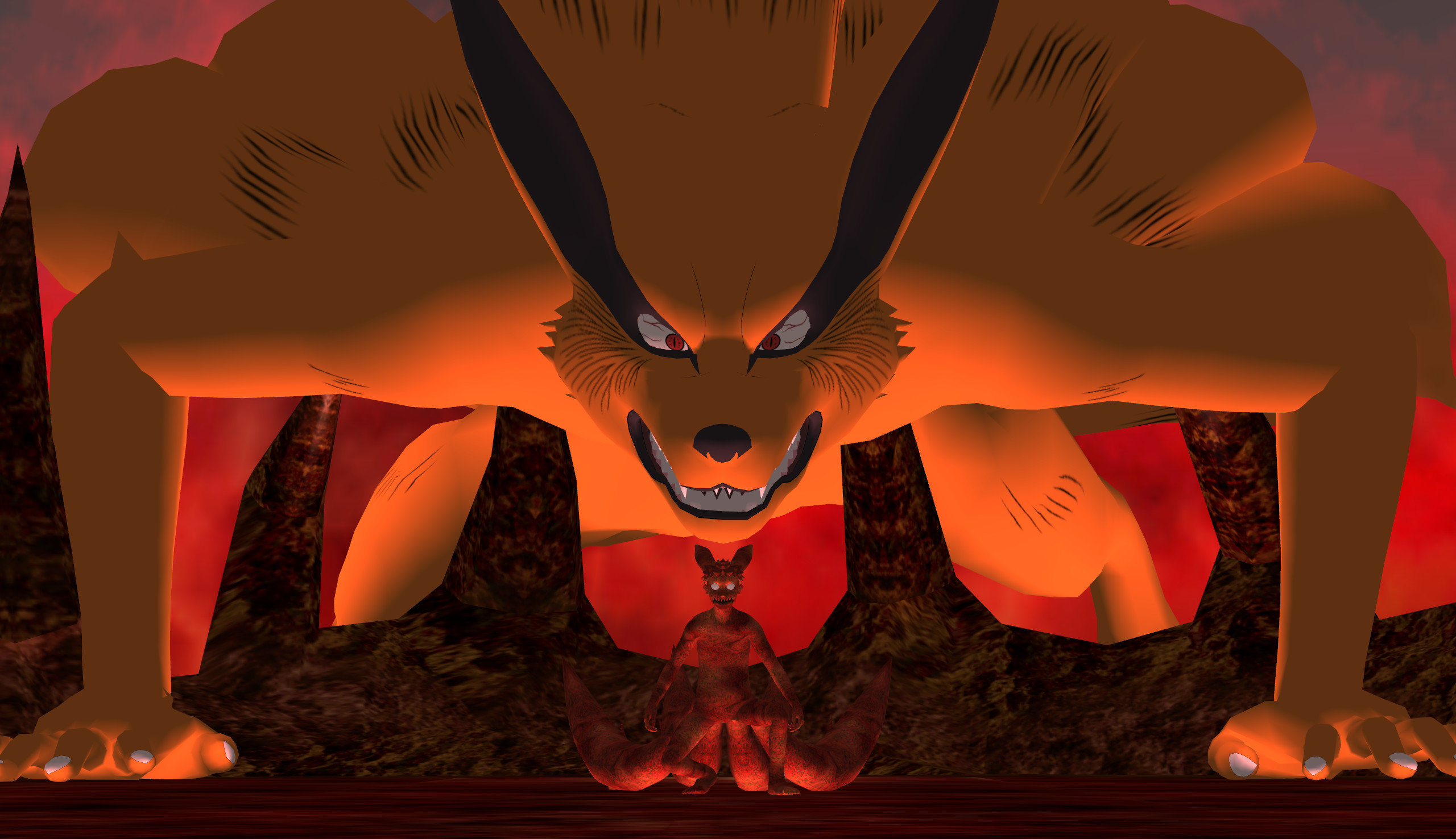 Kyuubi Kurama and Naruto four tails form WallPaper by agrael34 on .