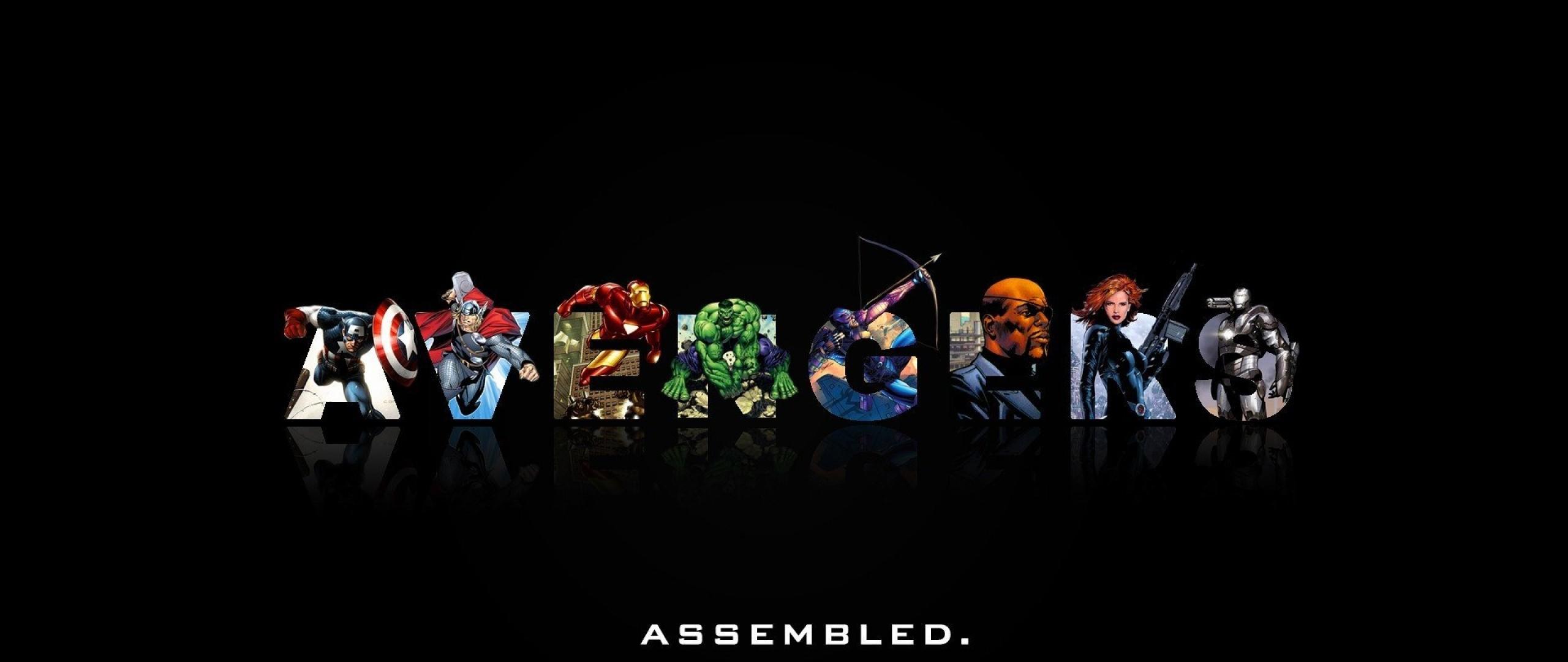 Preview wallpaper marvel comics, the avengers, minimalism 2560×1080