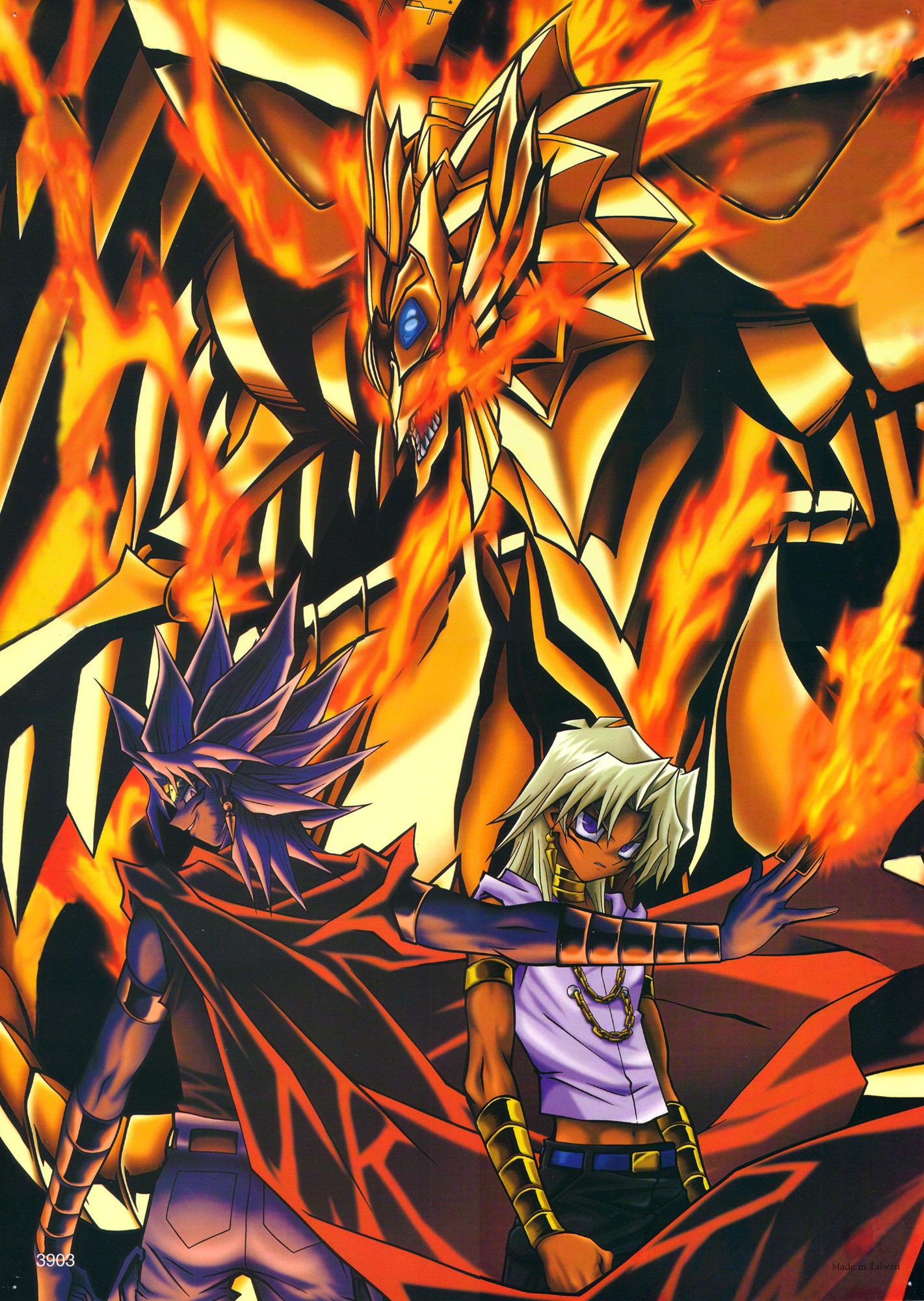 Well theres not many Yu-Gi-Oh! This is one of the few Yu-Gi-Oh! The Duel  Monster in the background is The Winged Dragon of Ra. The characters are  Yami Malik …
