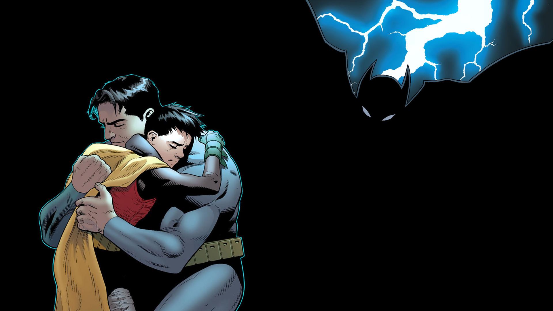 Batman Robin Hug Embrace Lightning Black DC-comics wallpaper .