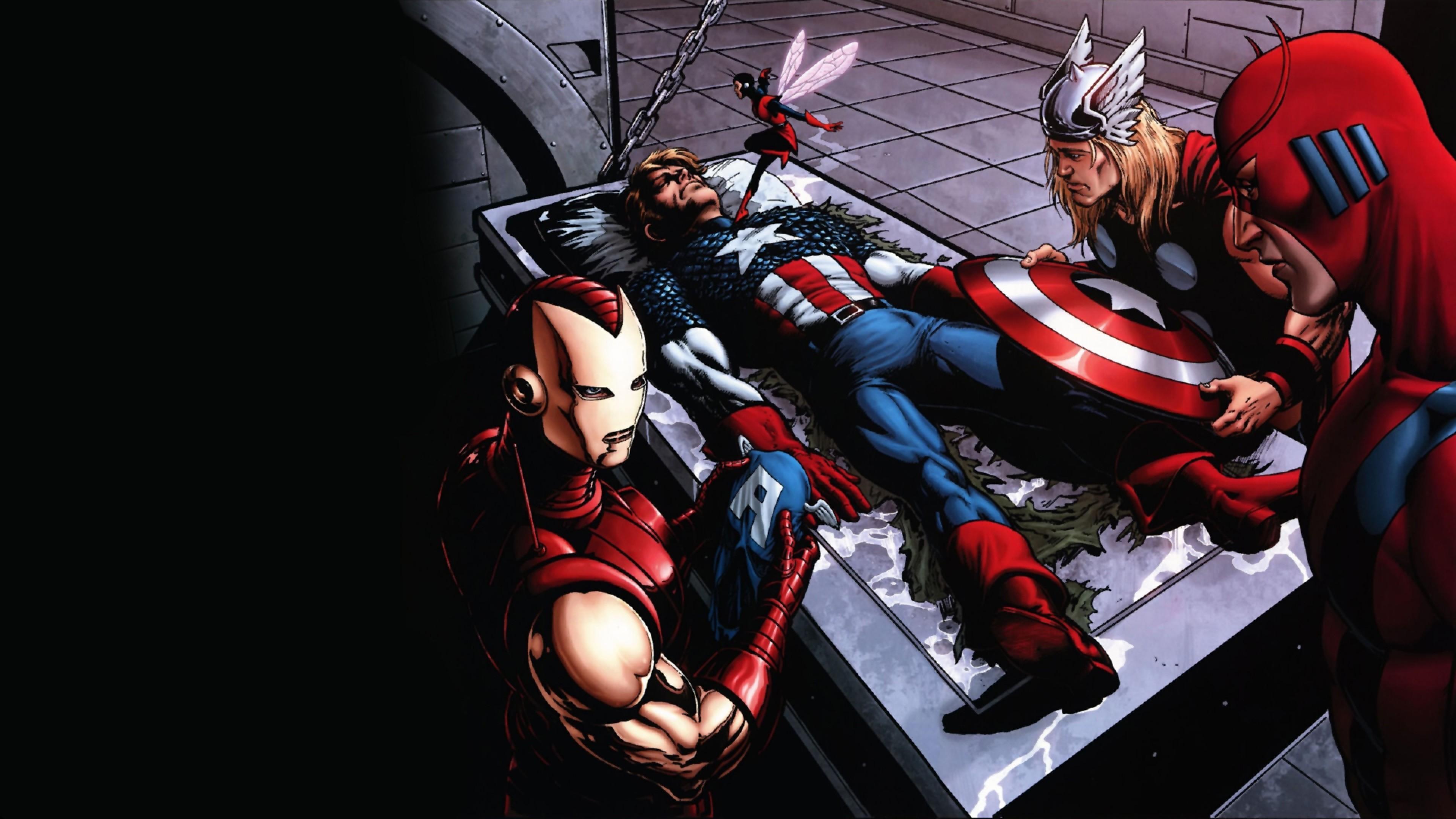 Preview wallpaper comics, marvel, thor, captain america, iron man 3840×2160