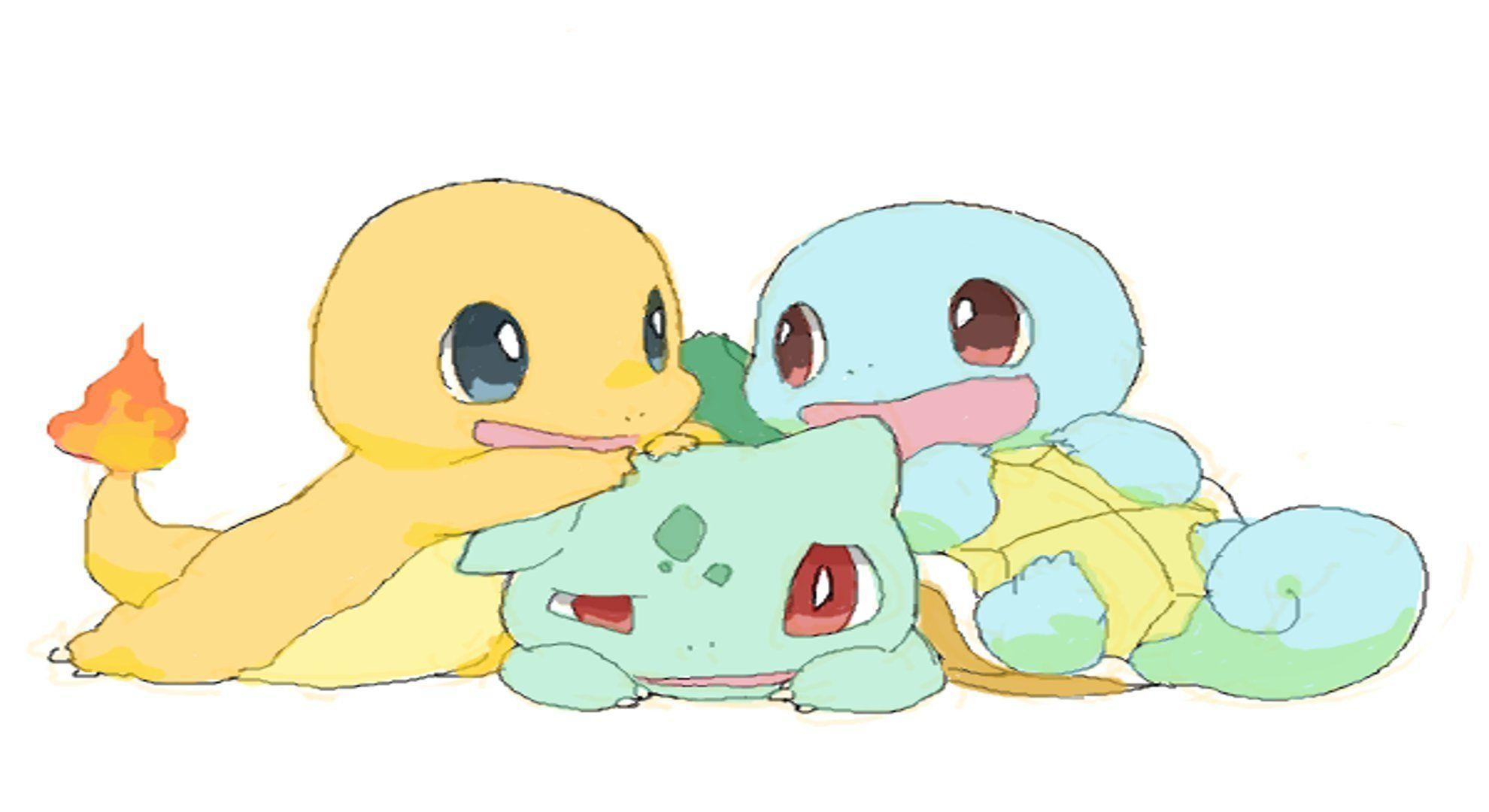 And Squirtle Bulbasaur Charmander Cute Pokemon Squirtle Wallpaper .