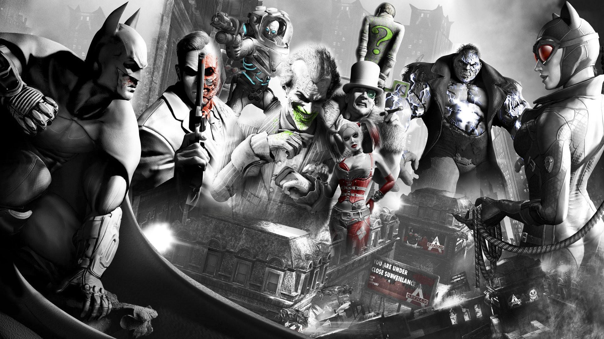 batman video games guns red the joker superheroes harley quinn catwoman  whips villains grayscale mon – Art Monochrome HD Desktop Wallpaper