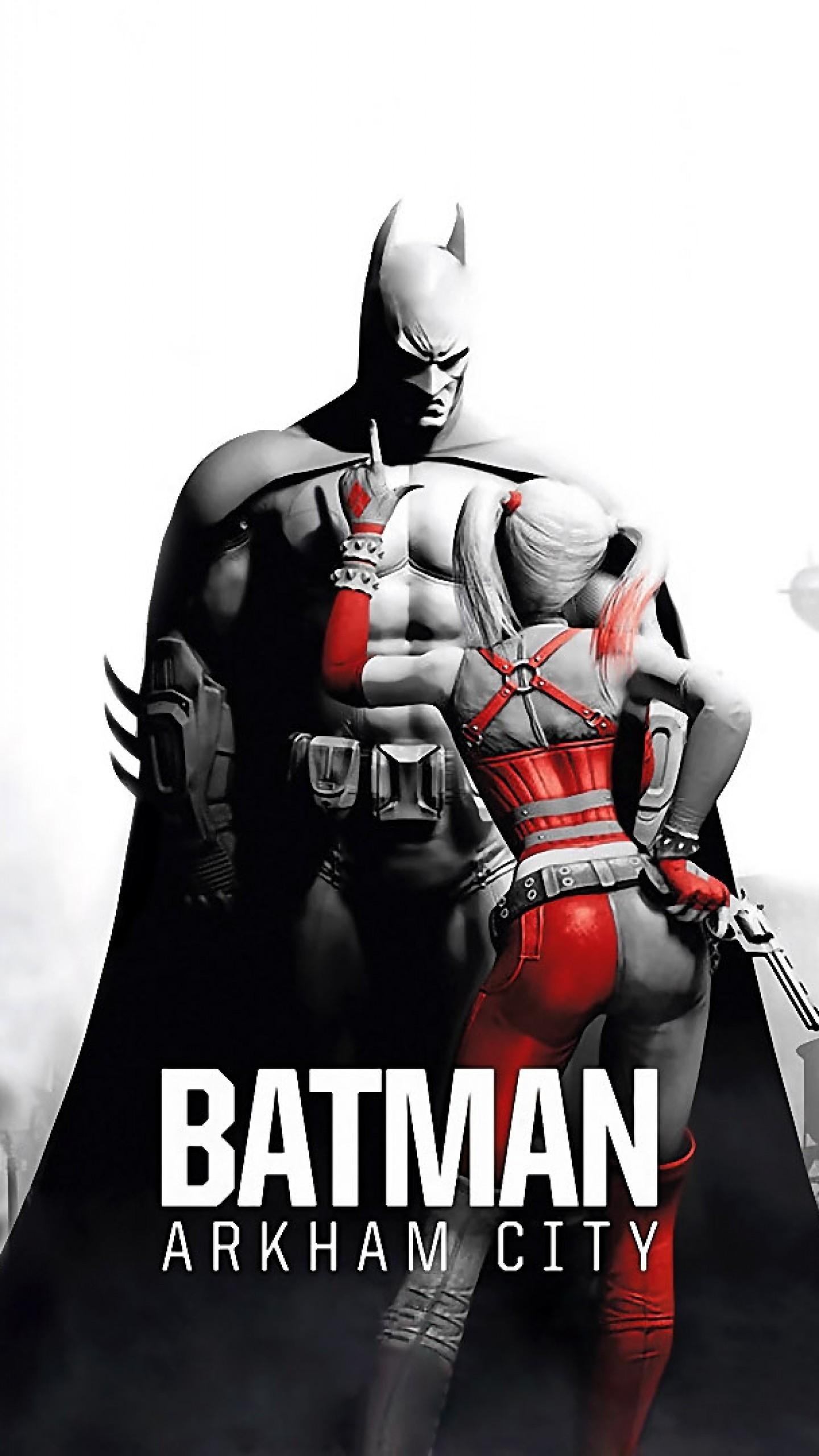 Preview wallpaper batman arkham city, characters, girl, pistol, city, black  and