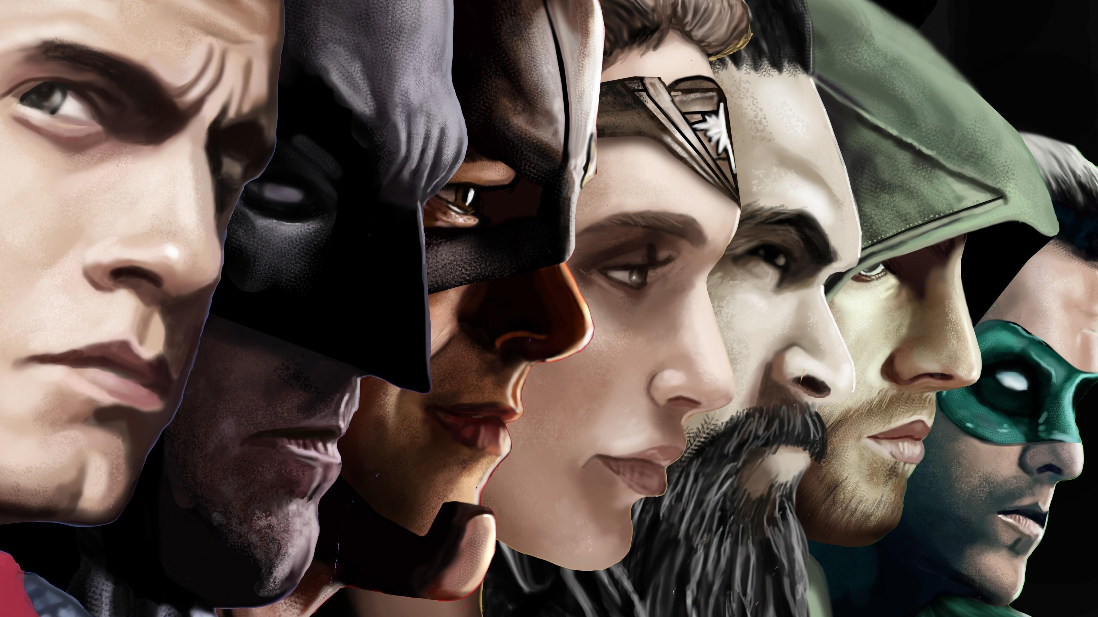 Wallpaper justice league, superman, aquaman, arrow, batman,  flash, green