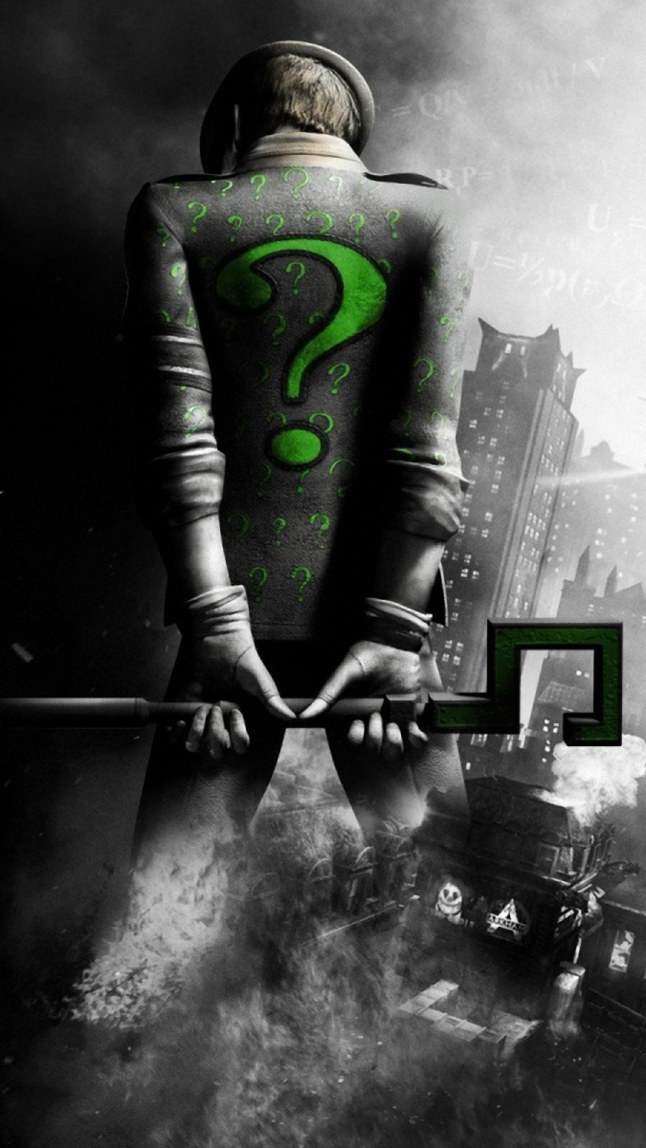 Preview wallpaper batman arkham city, riddler, back, city, black and white  2160×3840