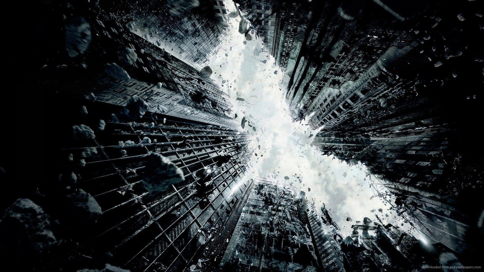 Download Batman City In Ruins Logo Wallpaper
