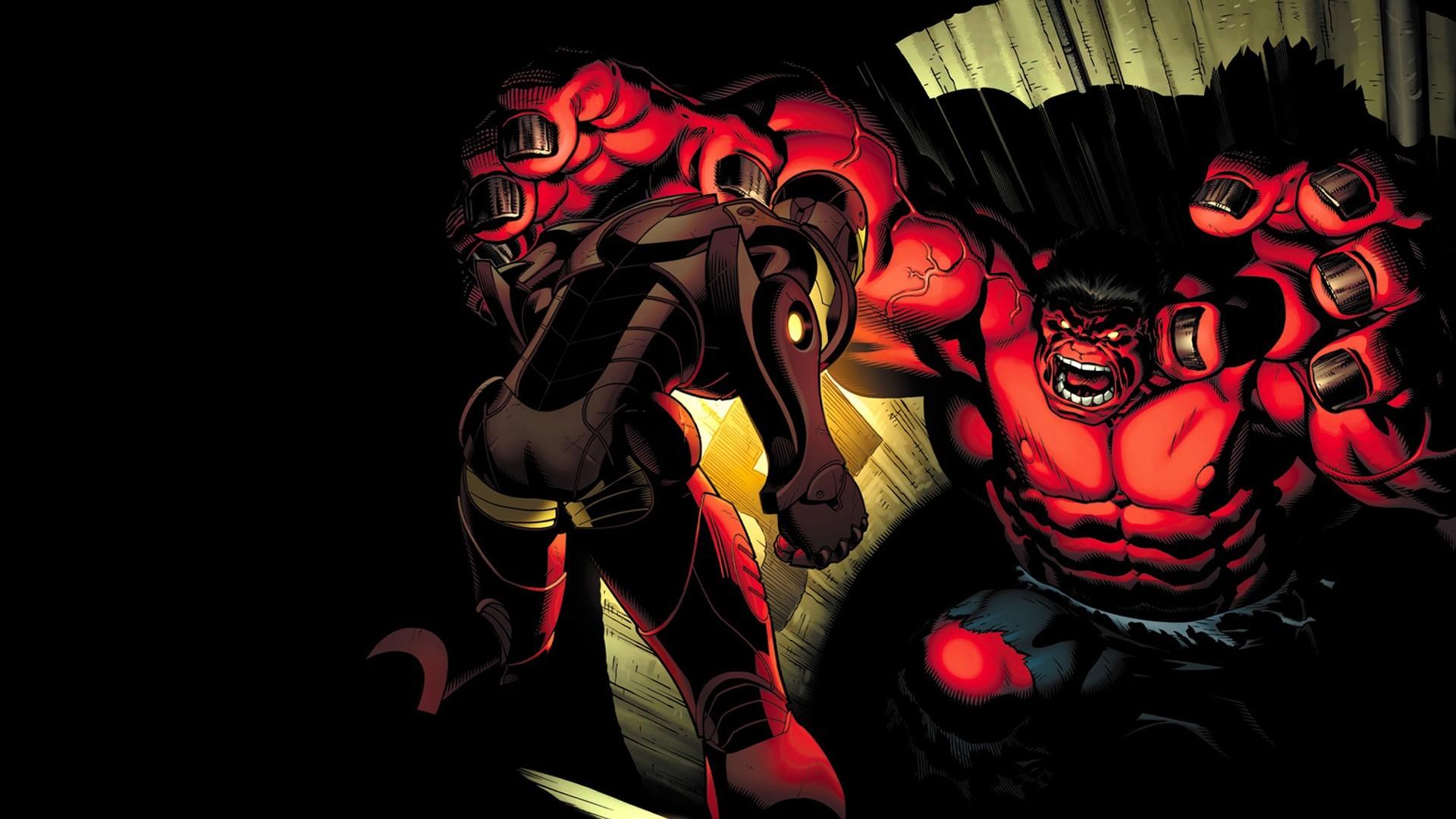 Hulk, Red hulk, Marvel Comics, Illustration, Iron Man