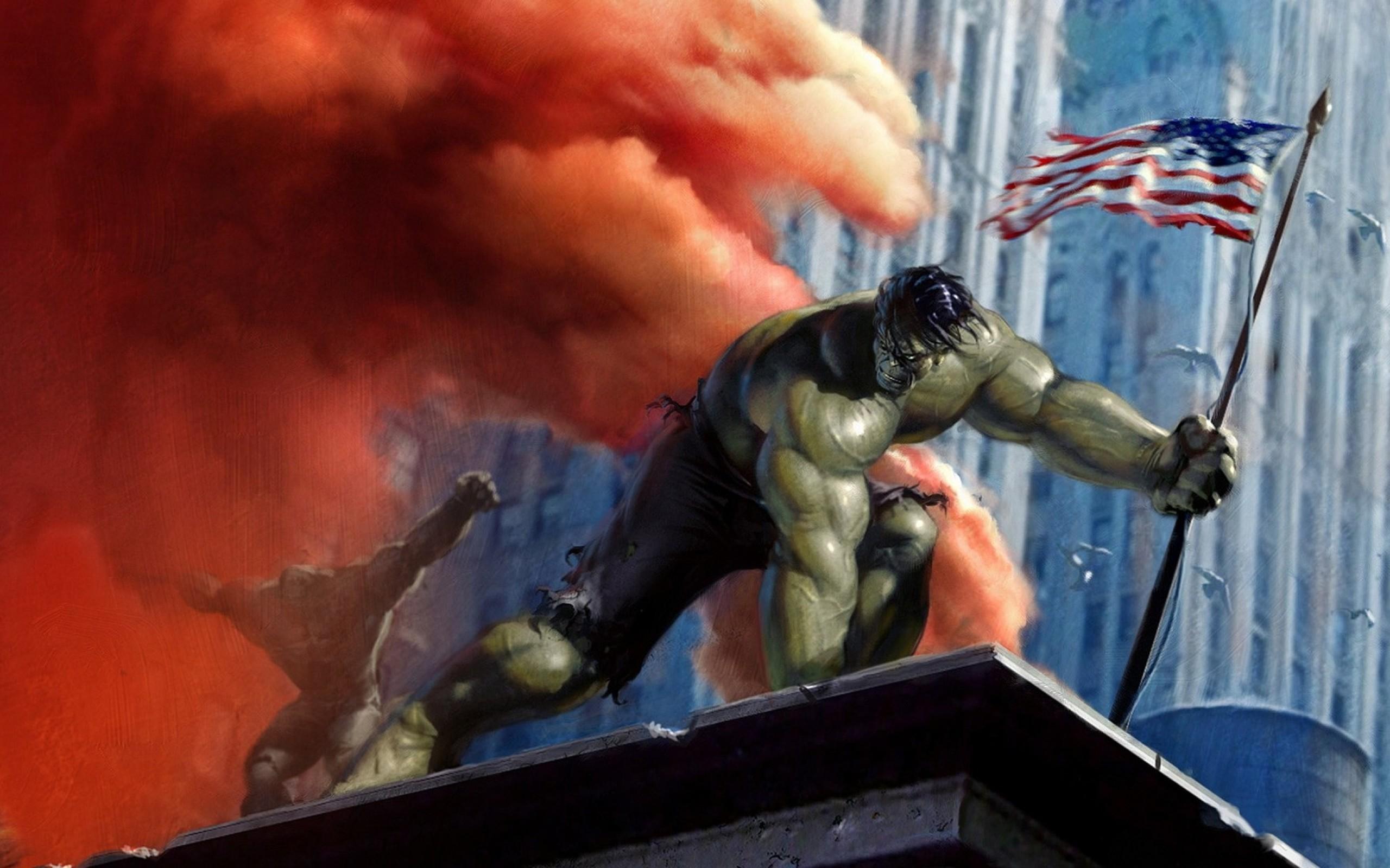 hulk comic character smoke buildings marvel comics american flag marvel Wallpaper  HD
