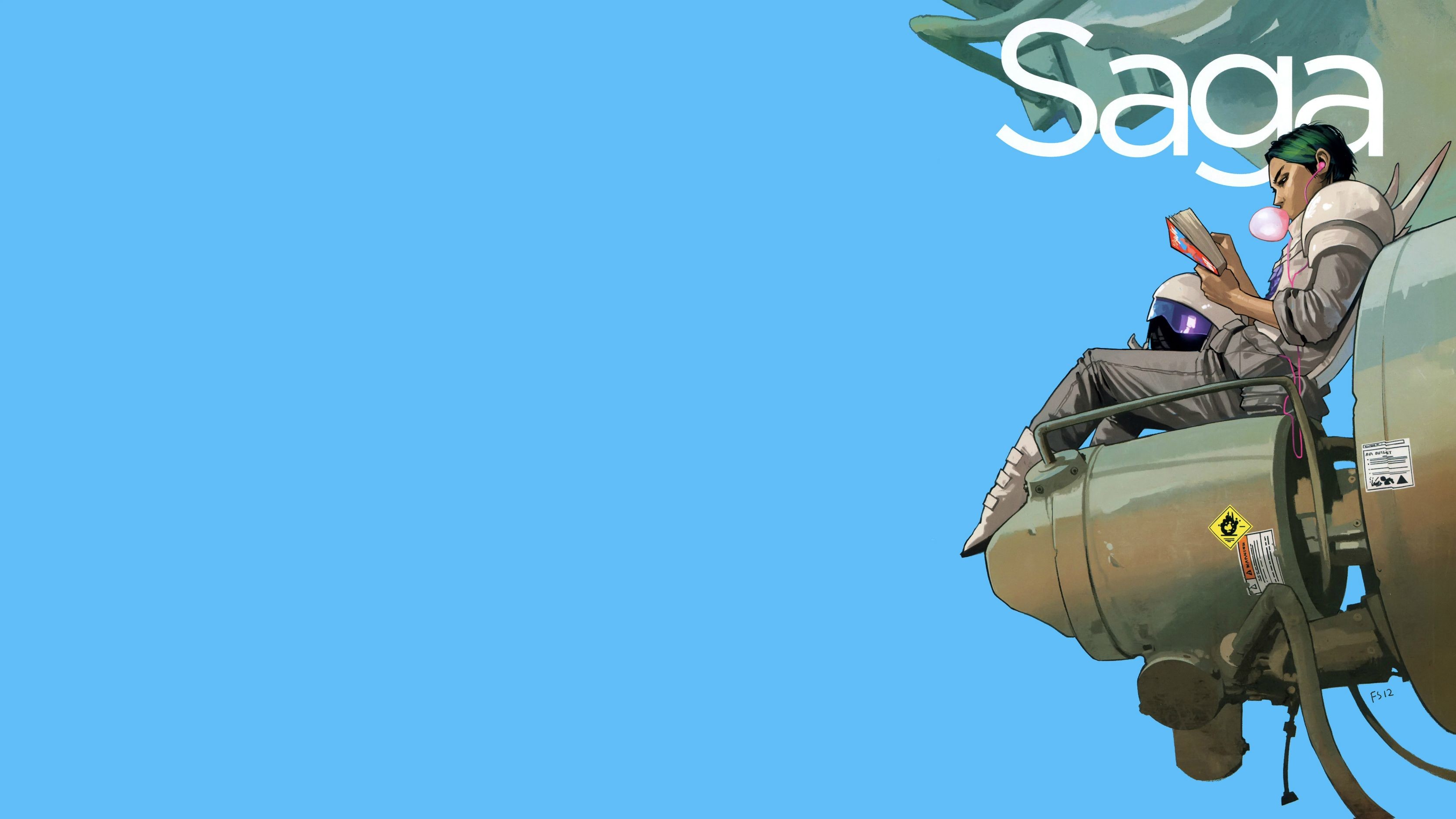 Made a wallpaper out of the cover to Saga #8. Not sure whether or