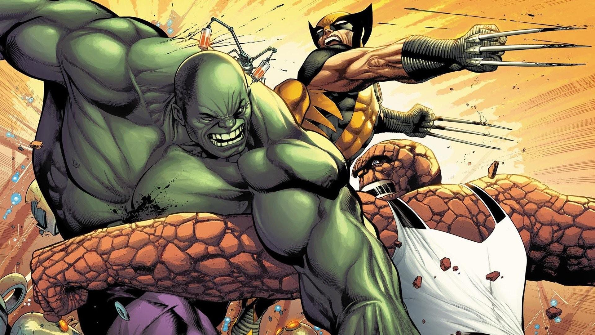 Hulk (comic character) comics Wolverine battles Thing (Ben Grimm) wallpaper  | | 252353 | WallpaperUP