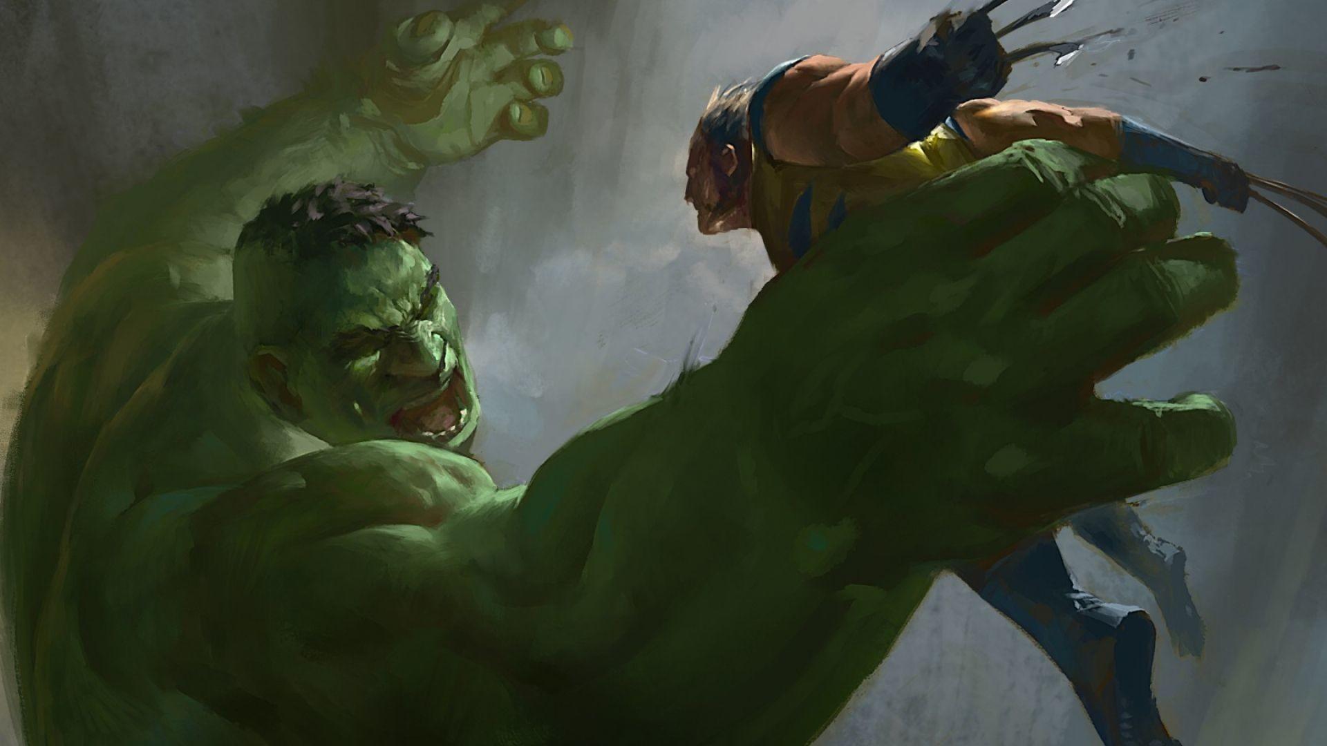 Download Wallpaper Hulk, Wolverine, X-men, Marvel comics .