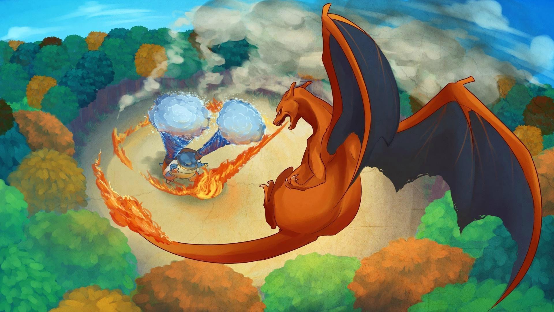 Charizard, Blastoise, Pokémon, Artwork, Fantasy art, Fire, Dragon, Water  Wallpapers HD / Desktop and Mobile Backgrounds
