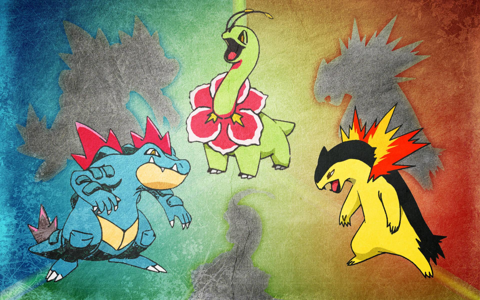 Pokemon Typhlosion Feraligatr Meganium Wallpaper | Wallpaper for Mobile