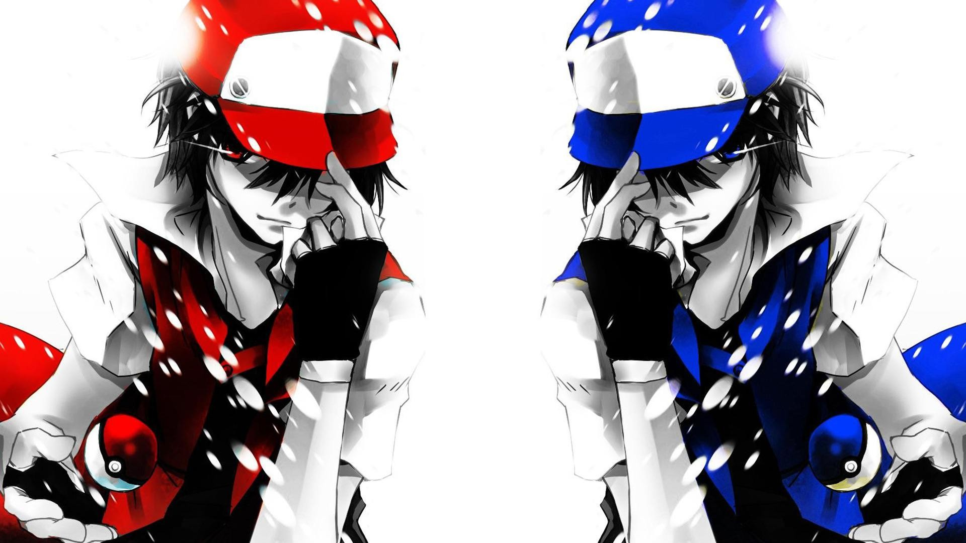 nice red and blue ash pokemon wallpaper