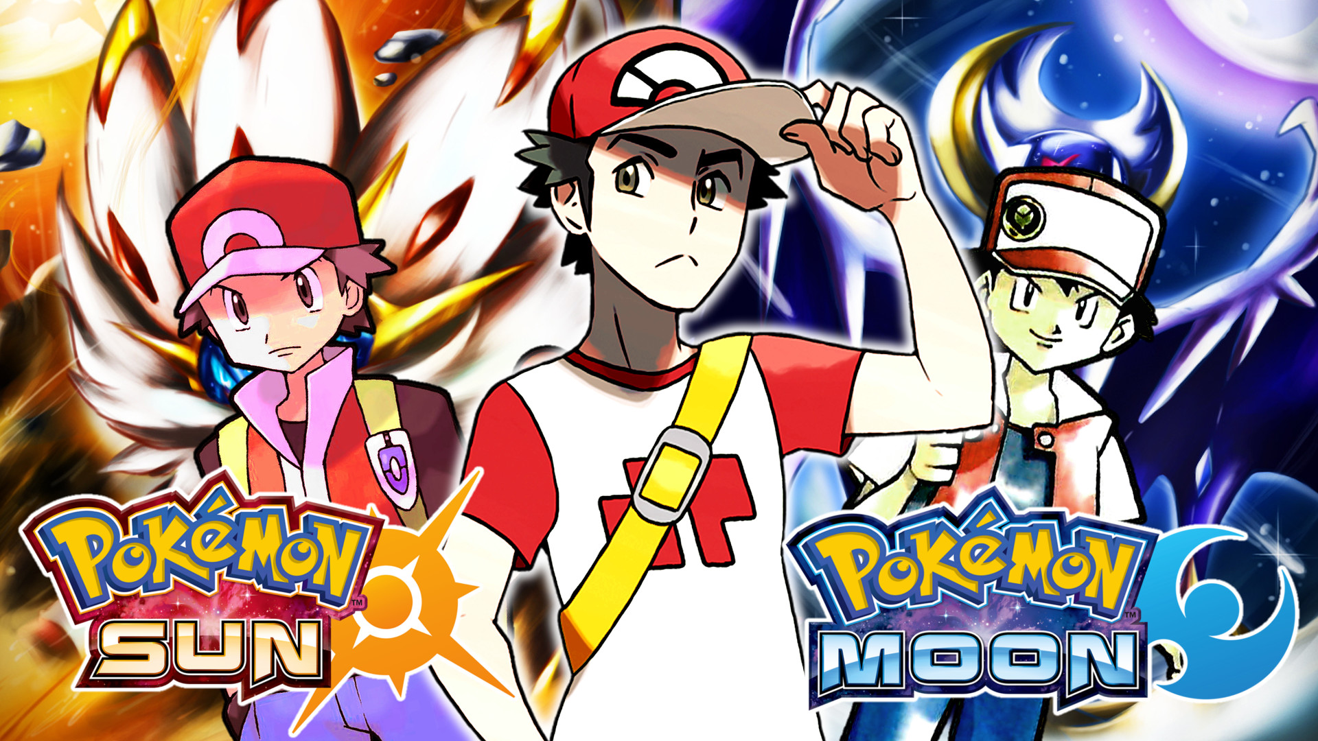 Red(Red AND Blue-Sun AND Moon) Wallpaper by MattPlaysVG