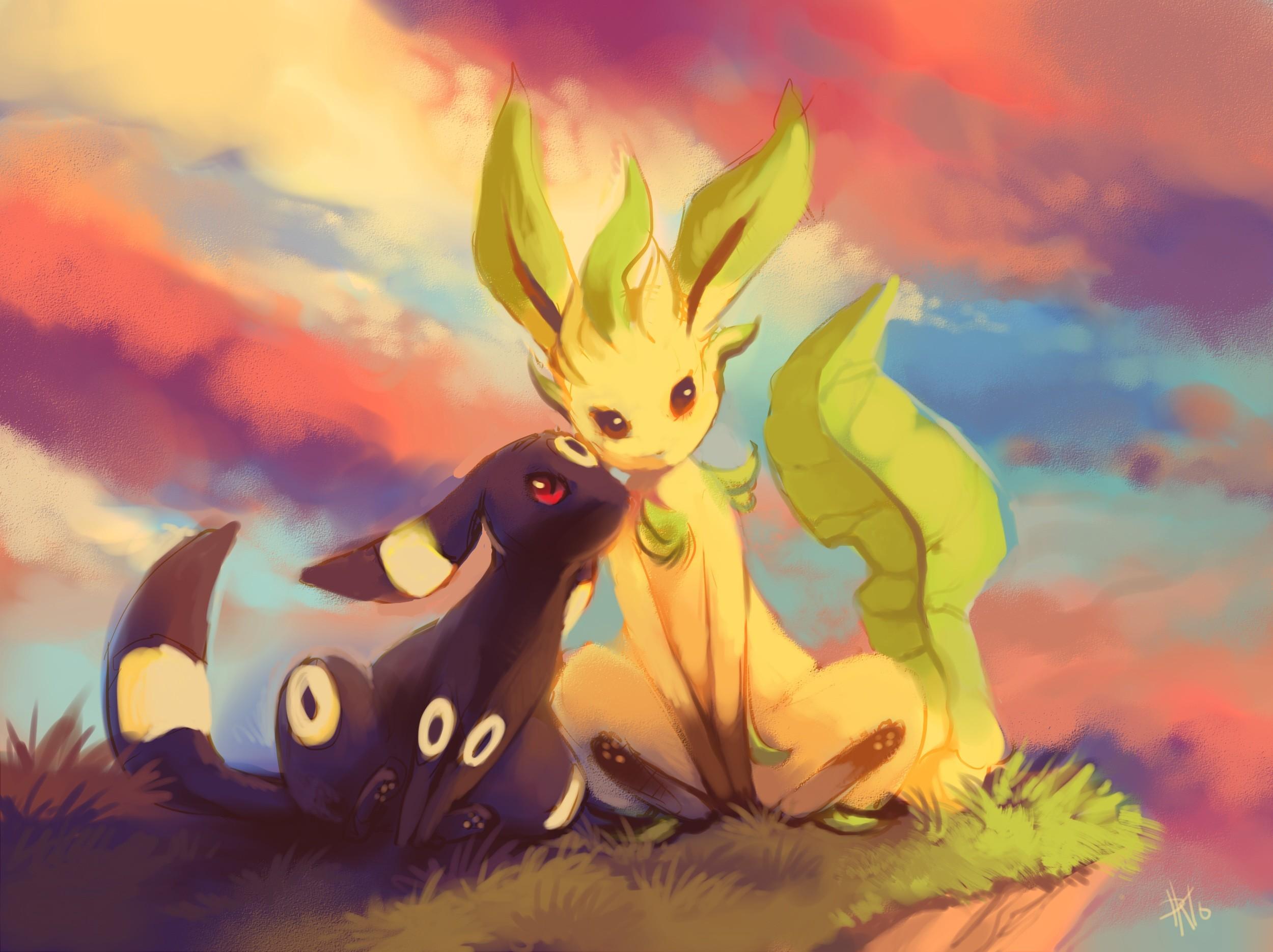 leafeon umbreon pokemon lovely wallpaper free hd download