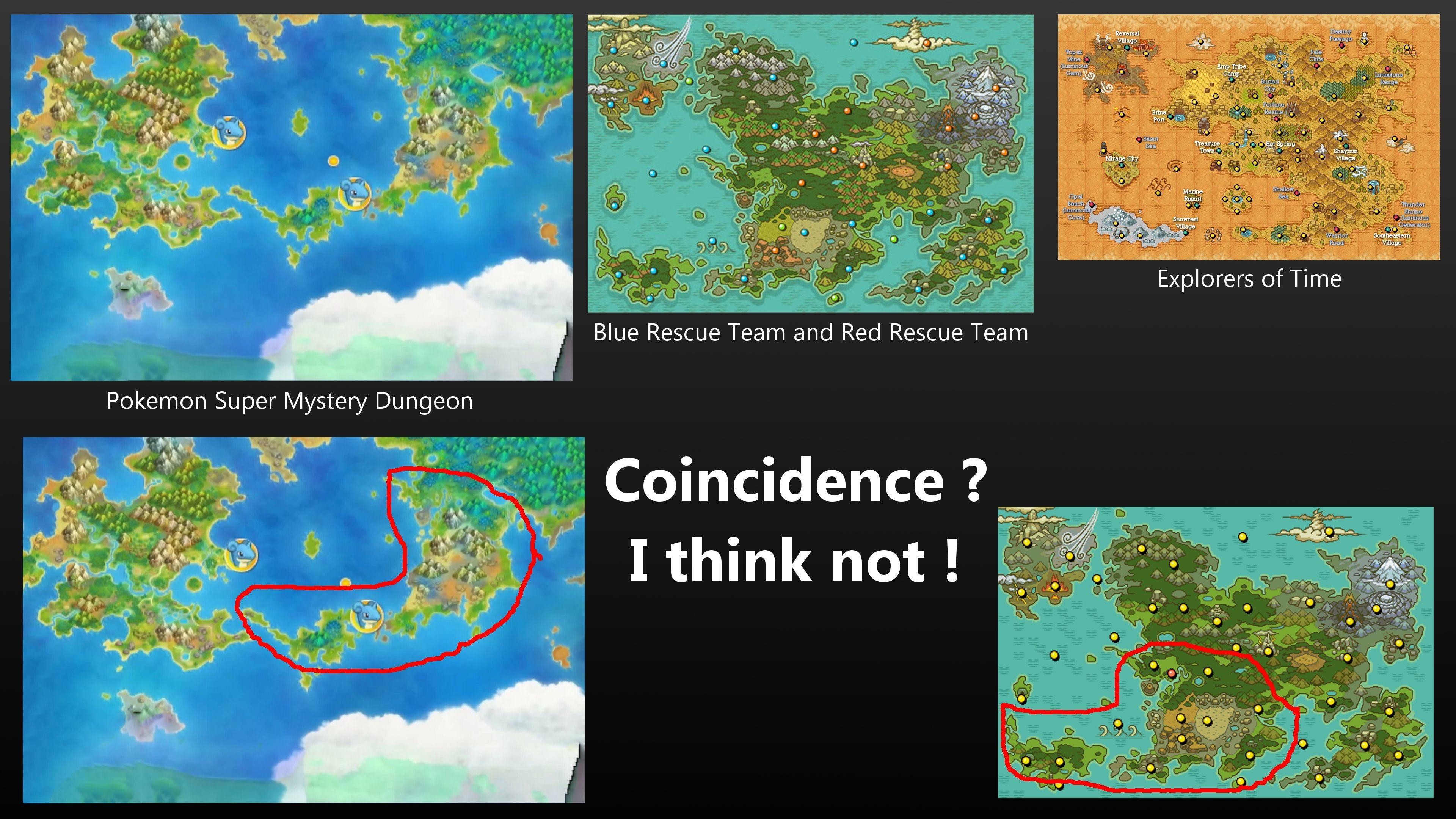 Pokemon Super Mystery Dungeon Map Comparison by orange-potatoe on .