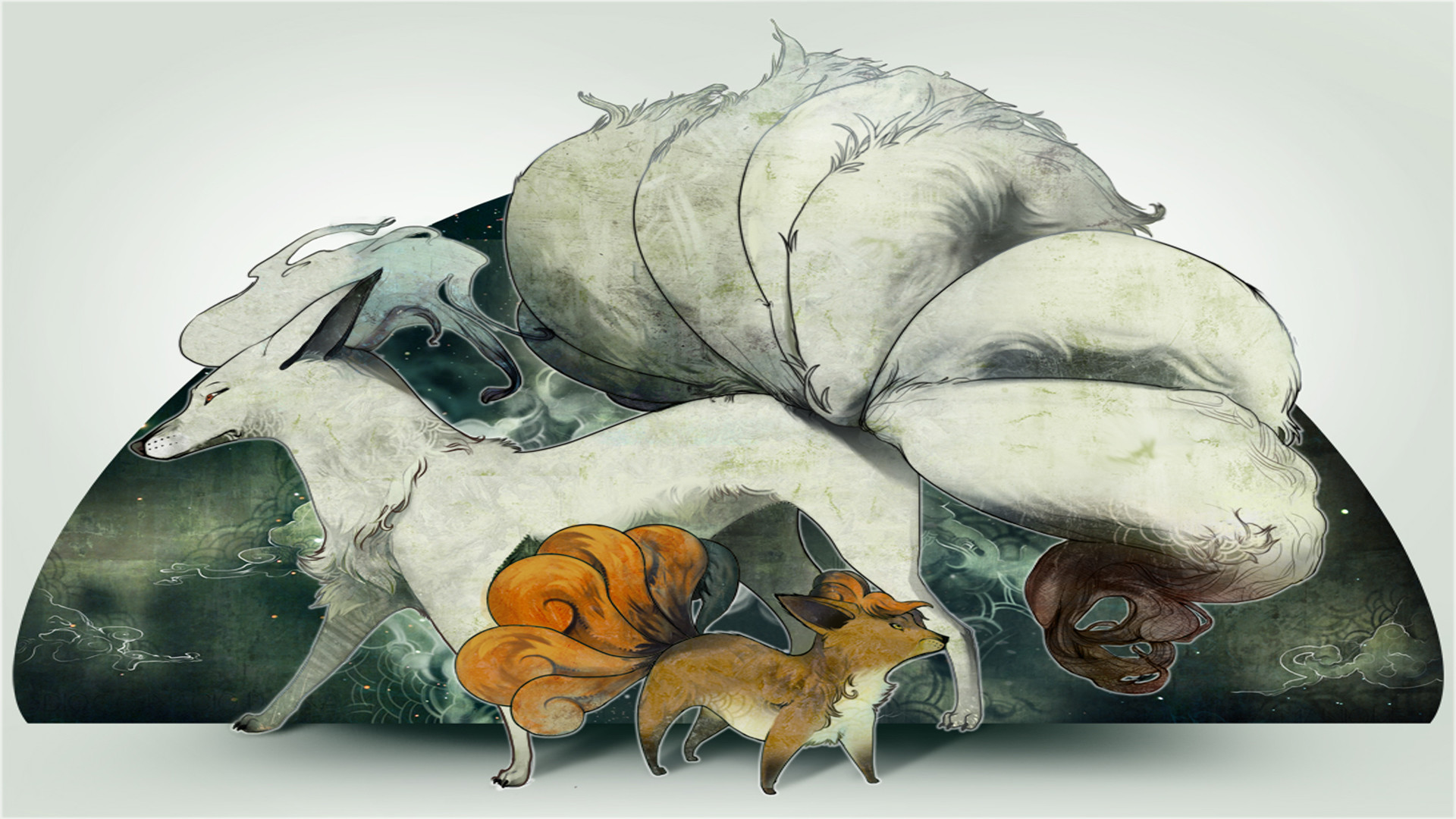 Pretty cool vulpix and ninetails wallpaper.