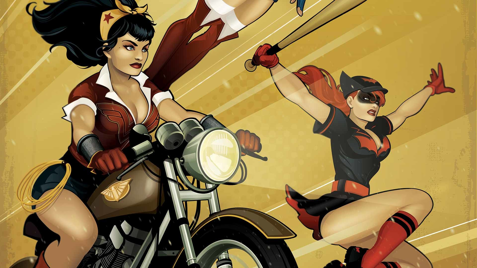 Serier – Bombshells DC Bombshells Wonder Woman Batwoman Bakgrund