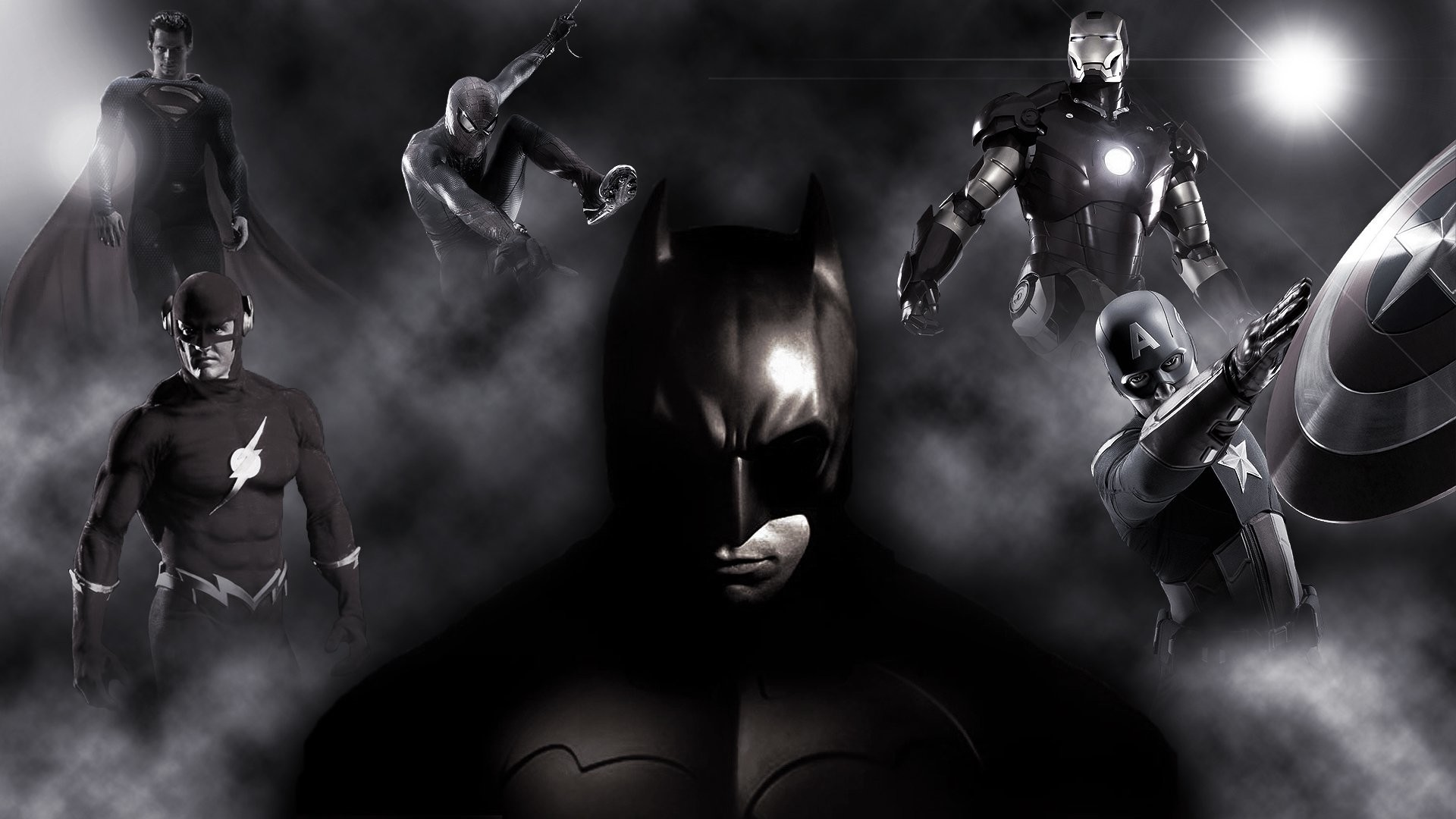 Comics – Collage Batman Superman Flash Spider-Man Iron Man Captain America  Wallpaper