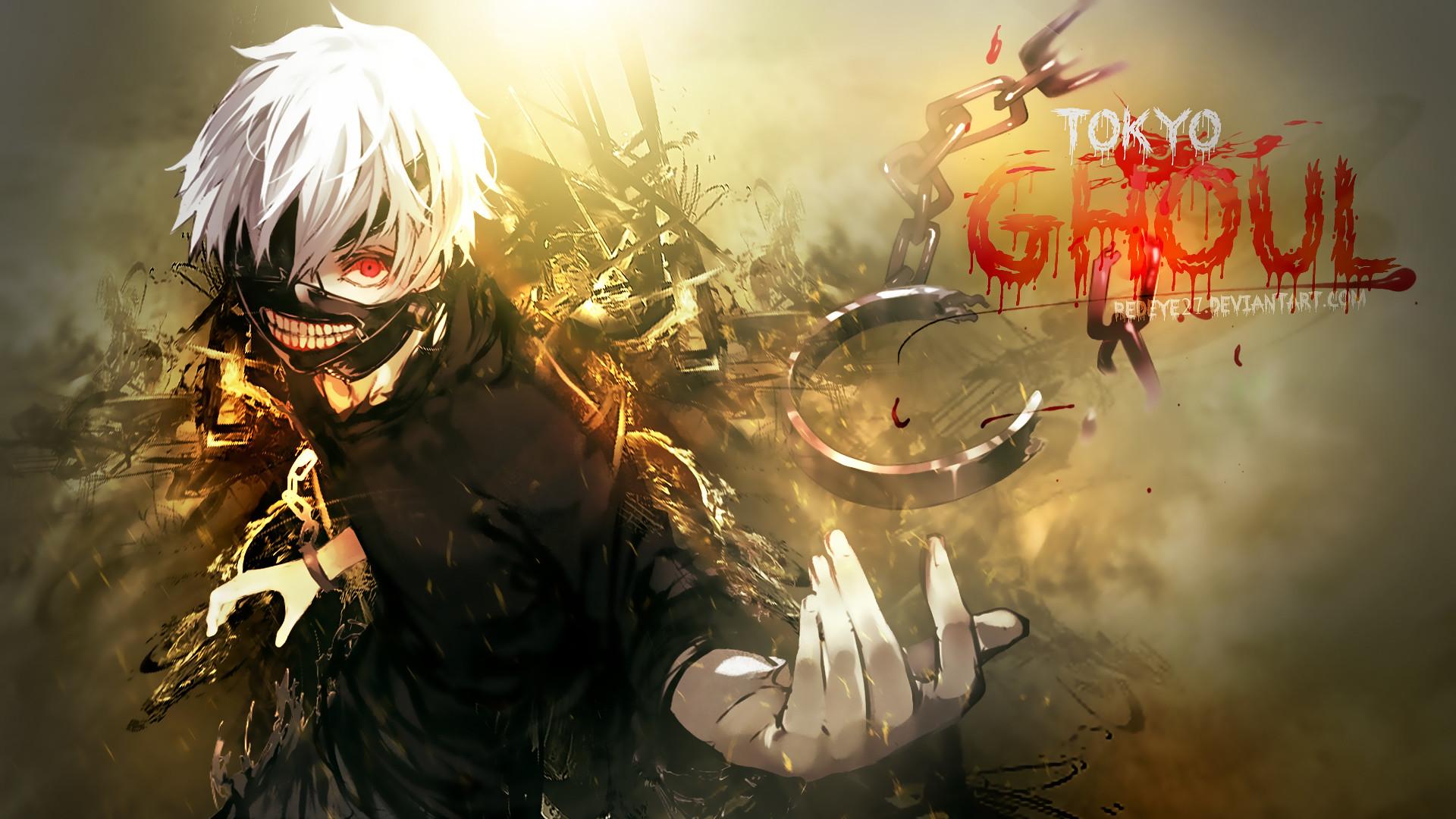 Kaneki Tokyo Ghoul anime red eye, mask. hd 1080p wallpaper .