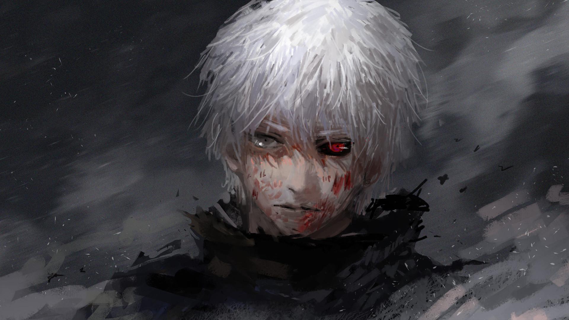 Preview wallpaper tokyo ghoul, kaneki ken, guy, anime, face 1920×1080