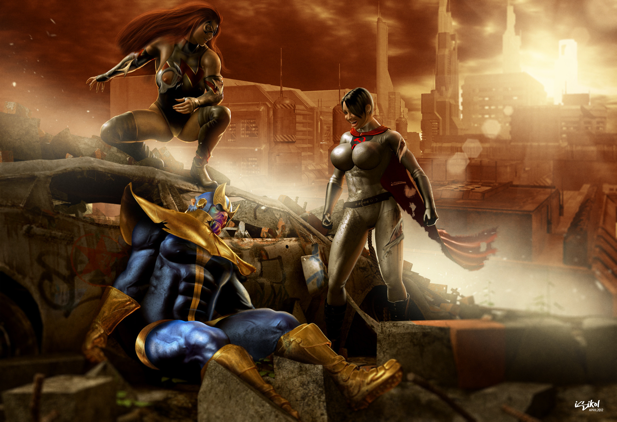 … THANOS VS WALKYRIA AND SSW by ISIKOL