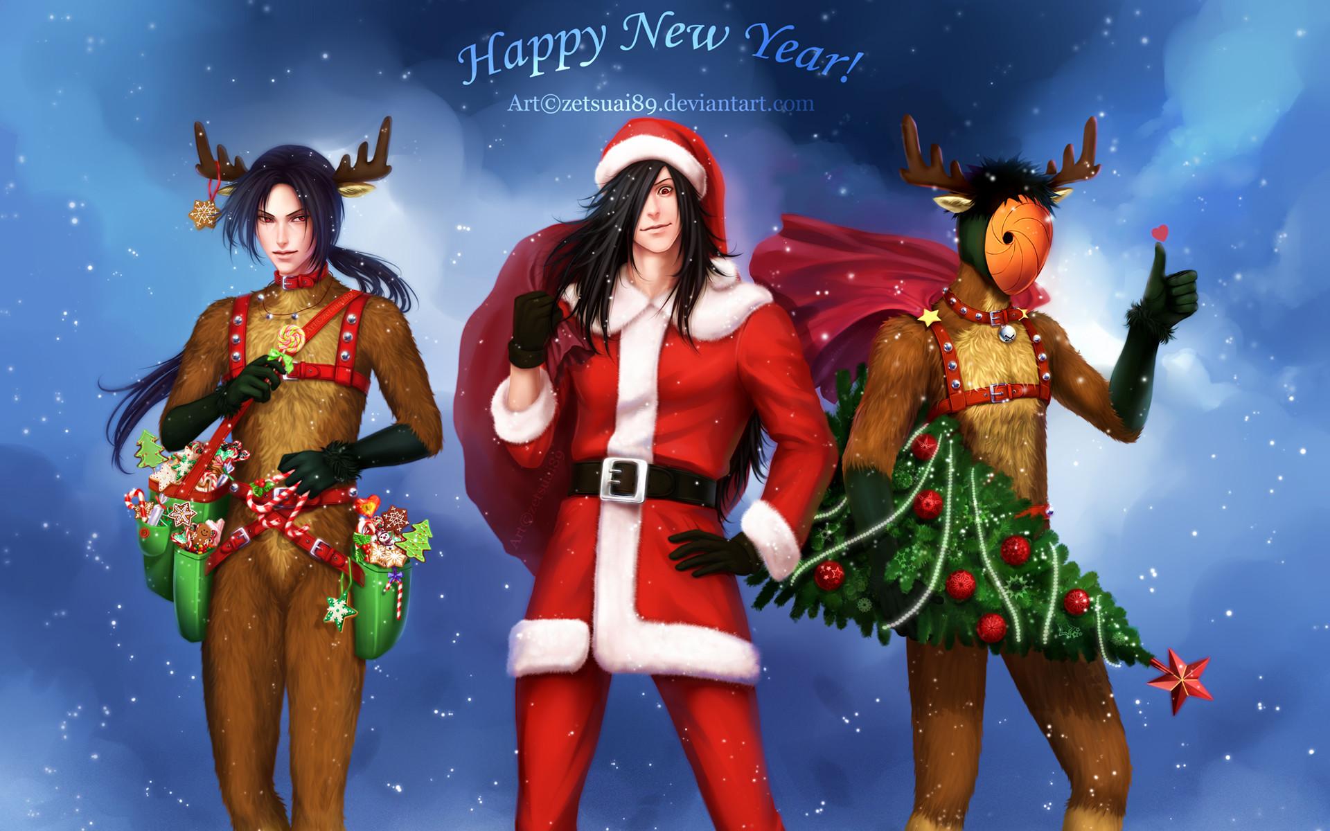 itachi madara obito tobi uchiha santa costume and reindeer costume