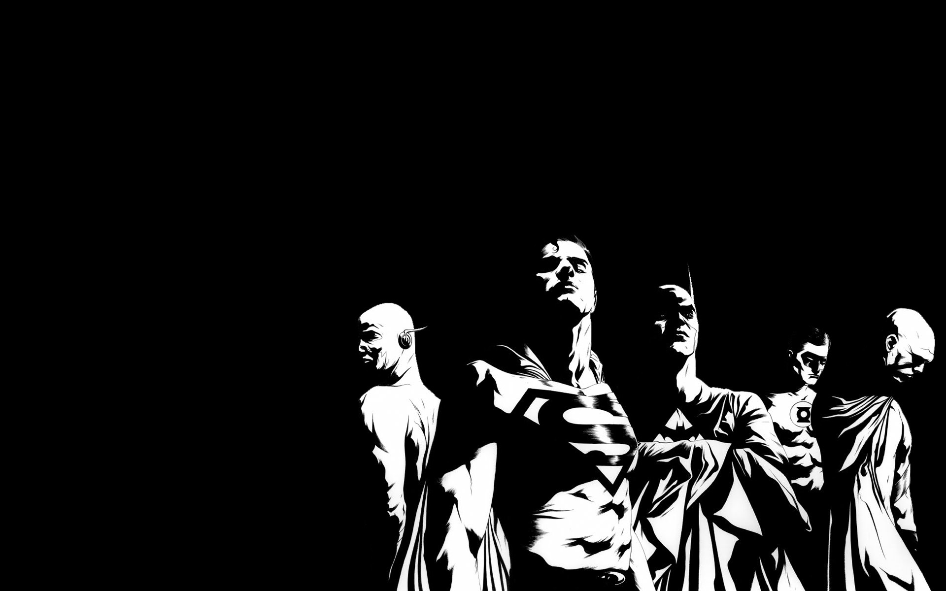 Justice League BW Black Superman Batman The Flash Green Lantern DC .