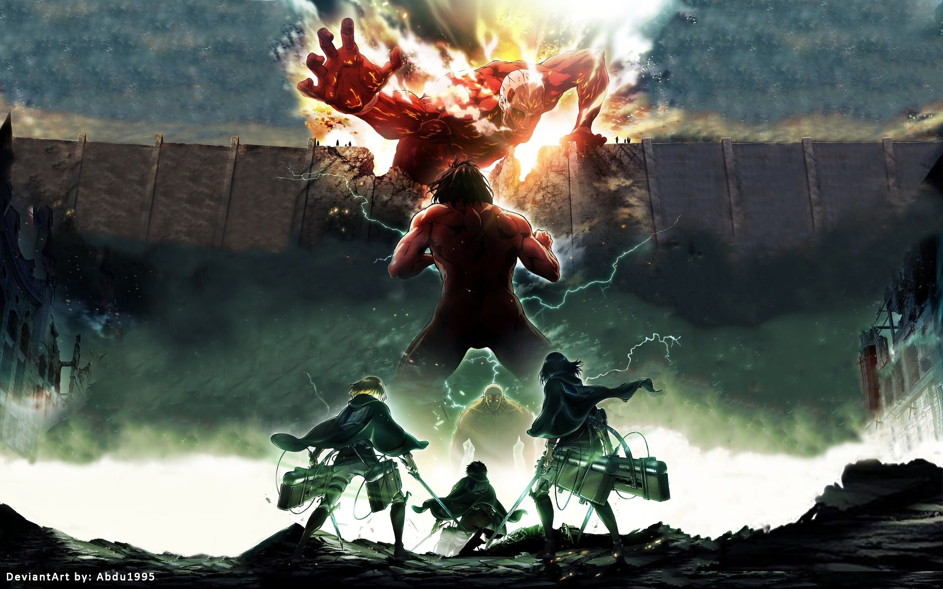 Anime – Attack On Titan Mikasa Ackerman Eren Yeager Armin Arlert Shingeki  No Kyojin Wallpaper