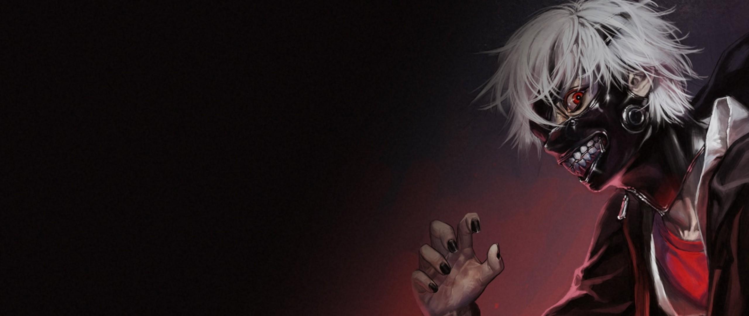 Preview wallpaper tokyo ghoul, kaneki ken, man, mask 2560×1080