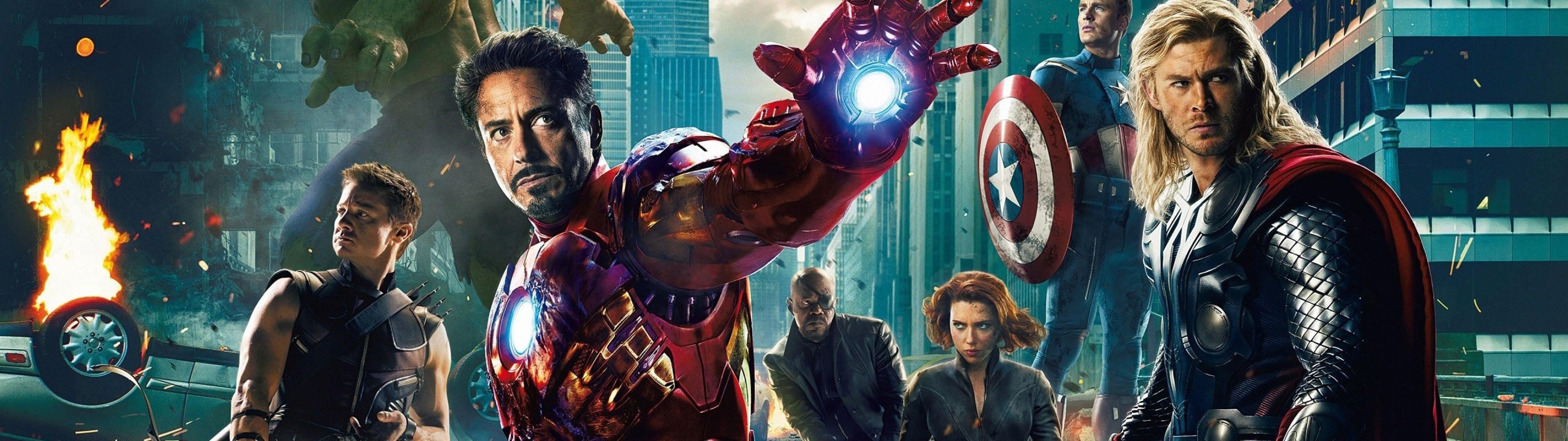 Scarlett Johansson Iron Man Thor Captain America dual screen Black .