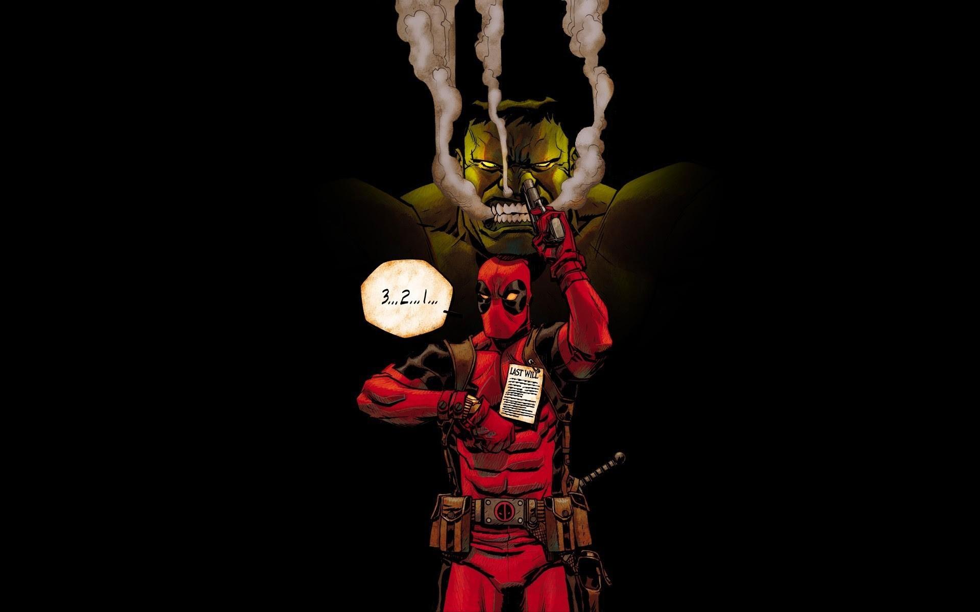 Deadpool Pointing gun Hulk funny Marvel Comics HD Wallpaper Black .