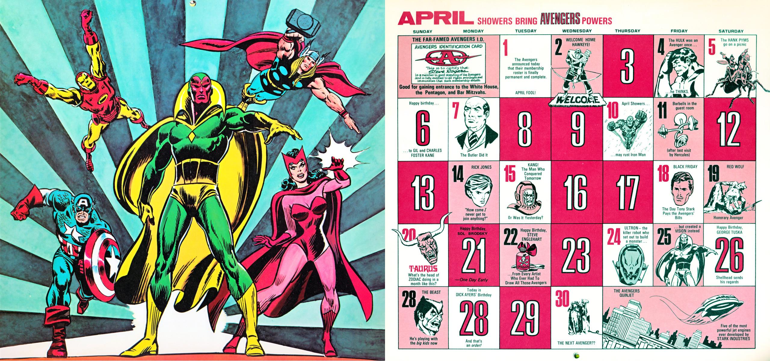 1975 Marvel Comics Calendar – April