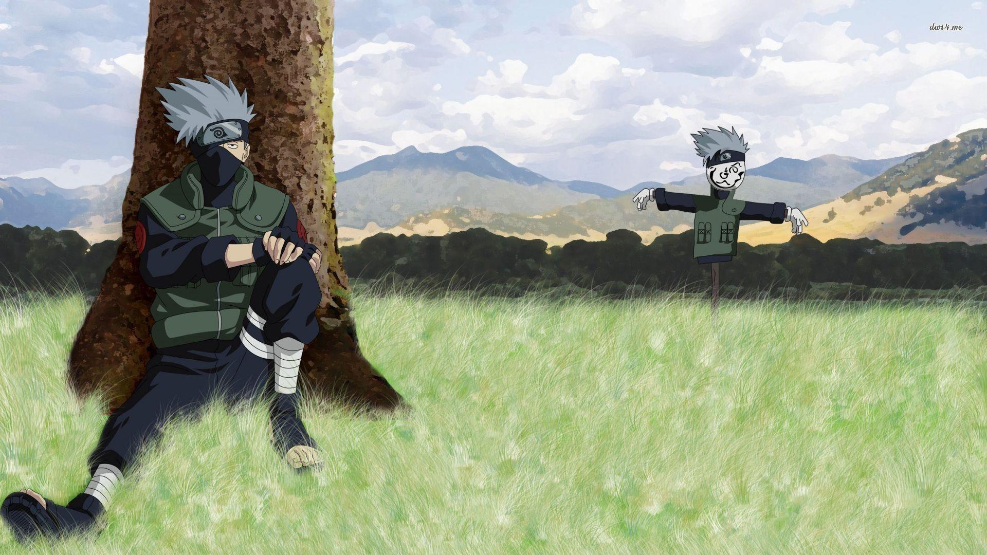 Fields naruto: shippuden scarecrow sitting kakashi hatake wallpaper