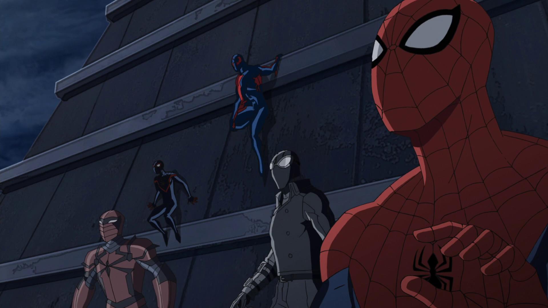 Spider-Man 2099, Spider-Man, Spider-Man Noir, Spyder-Knight, Miles Morales  USMWW.png