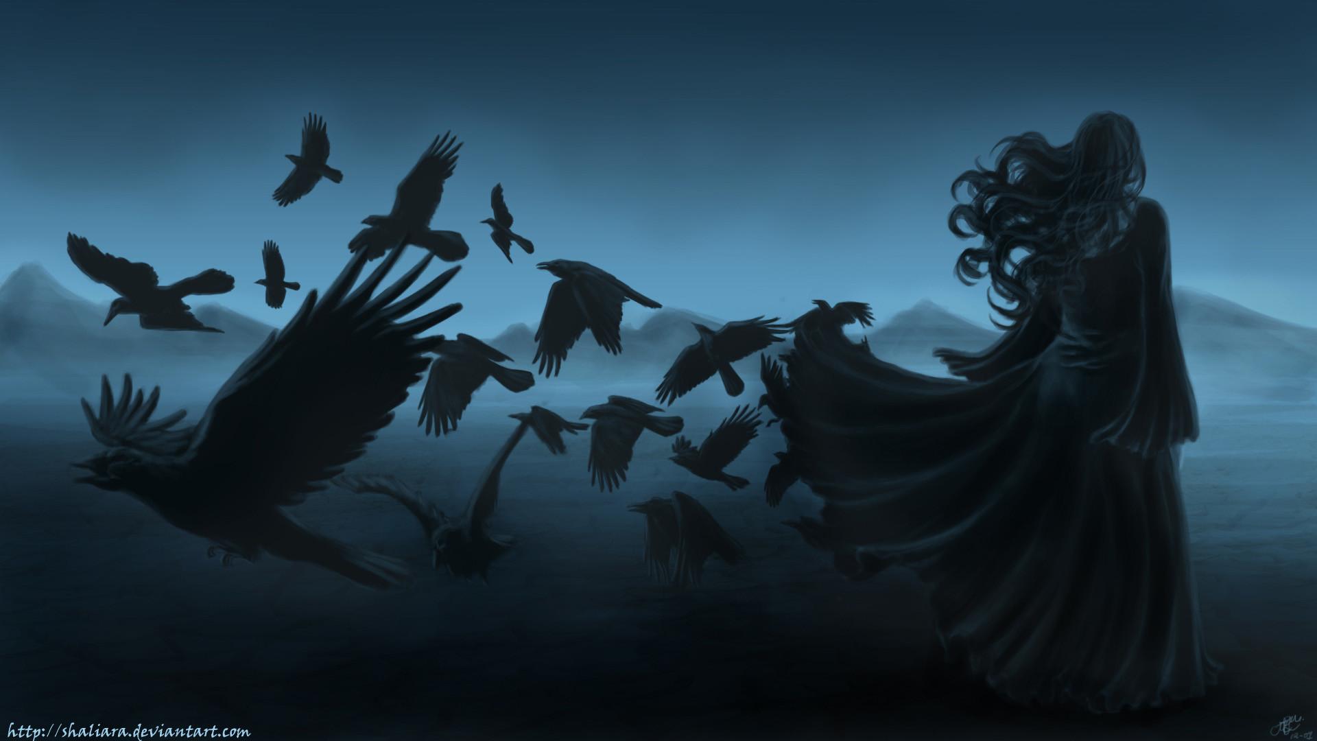 dark horror gothic women raven poe birds art mood wallpaper background