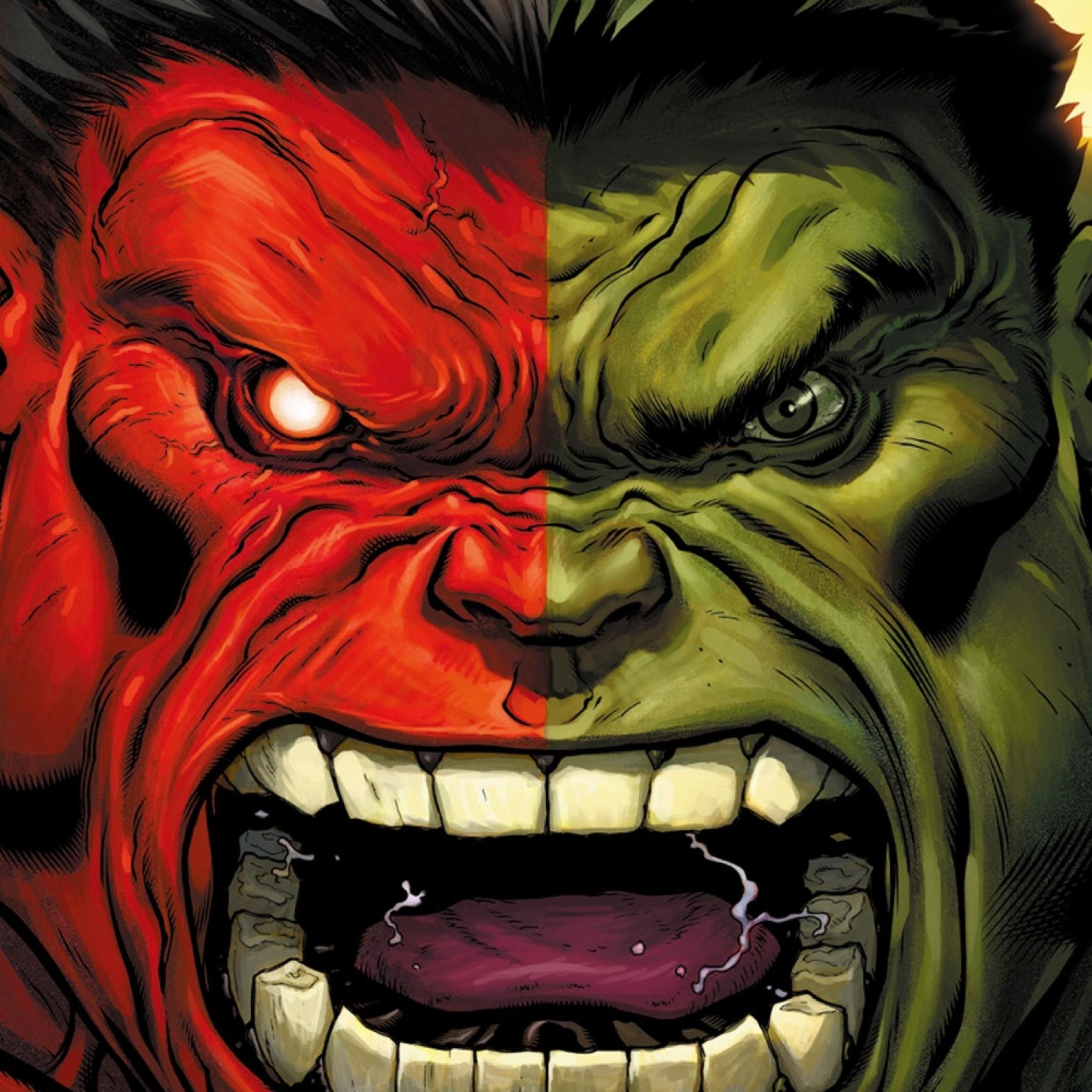 Preview wallpaper hulk, marvel comics, art, aggression 2048×2048