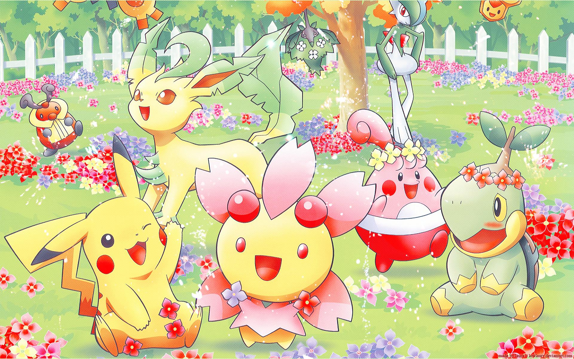 Anime РPok̩mon Pikachu Leafeon (Pok̩mon) Turtwig (Pok̩mon) Gallade (Pok̩mon )