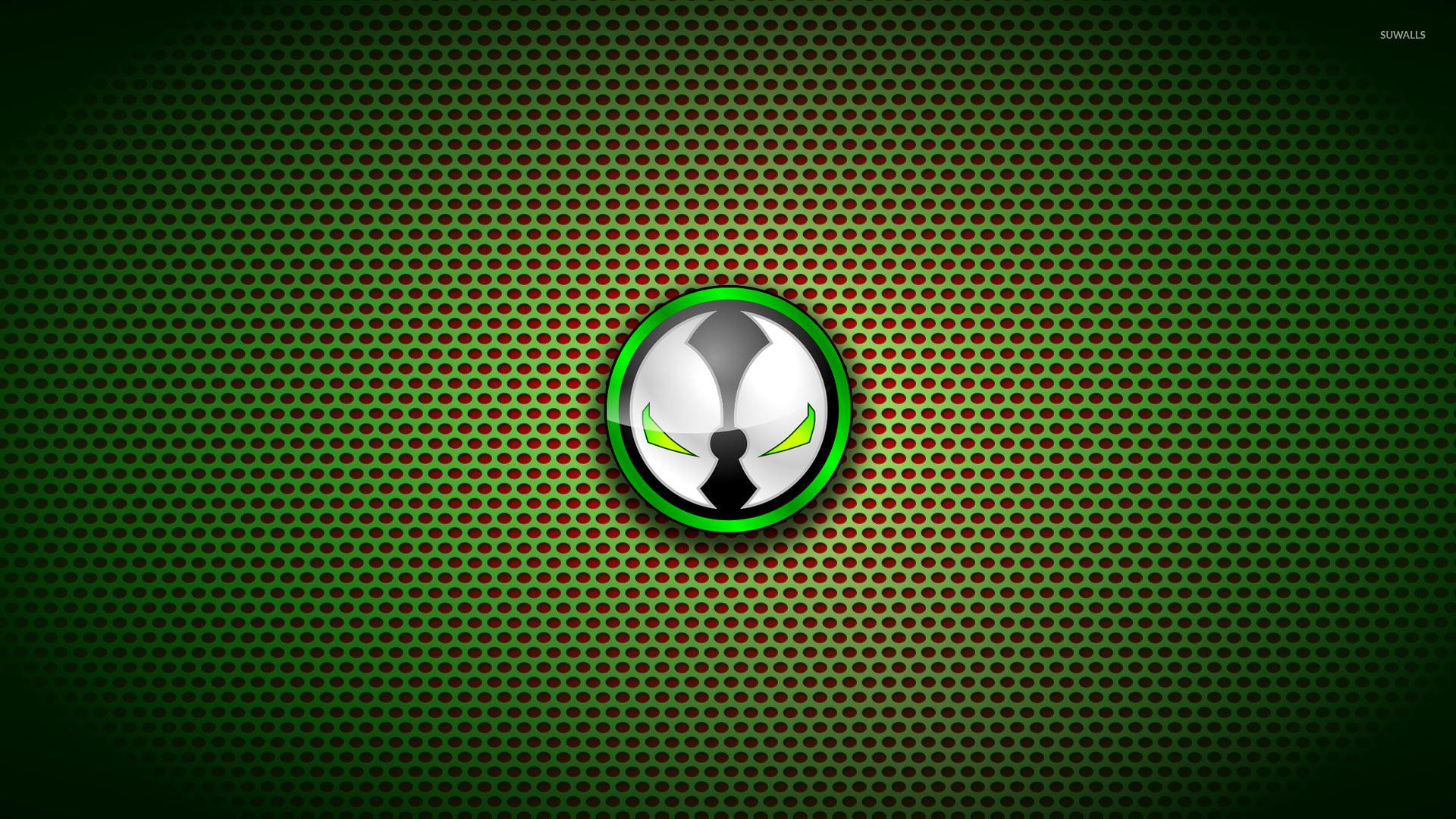 Spawn logo on circle pattern wallpaper