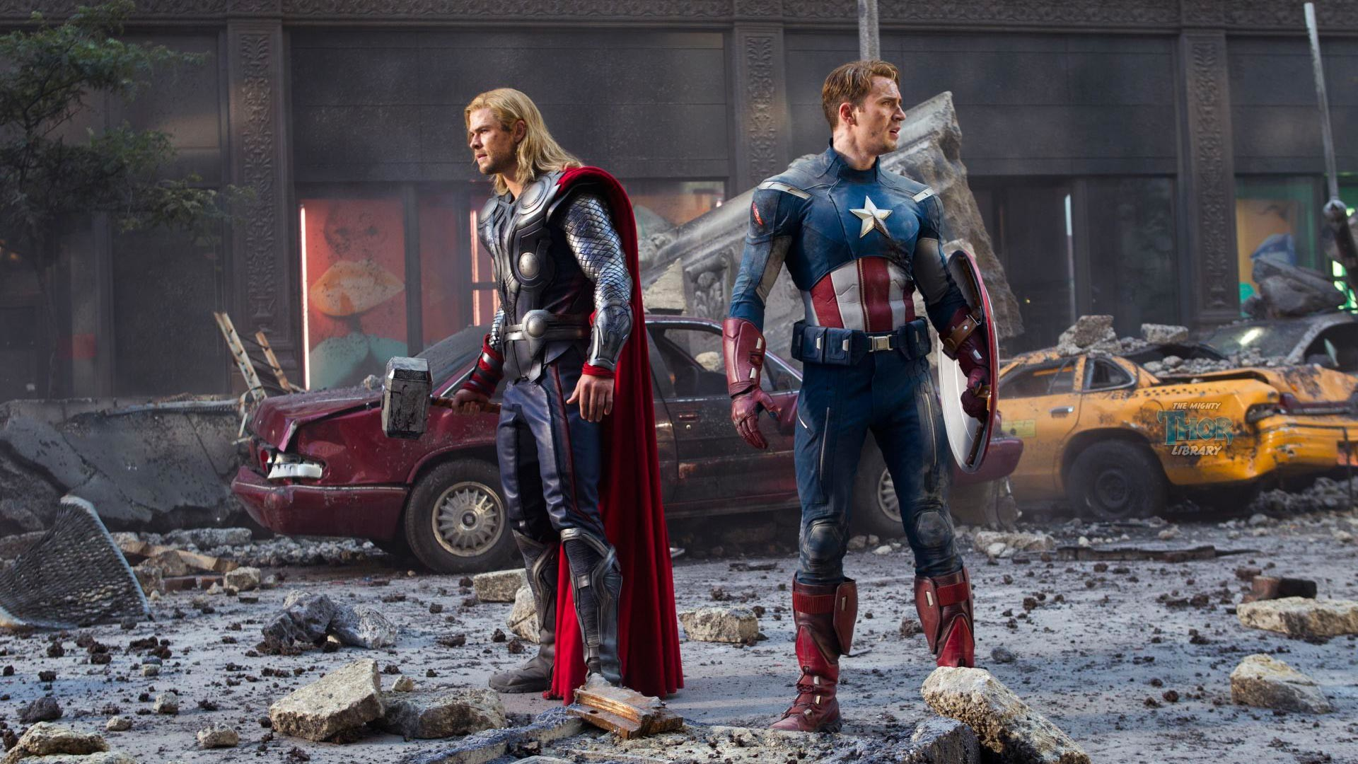 Thor and Captain America in Avengers Movie (1920 x 1080) wallpaper