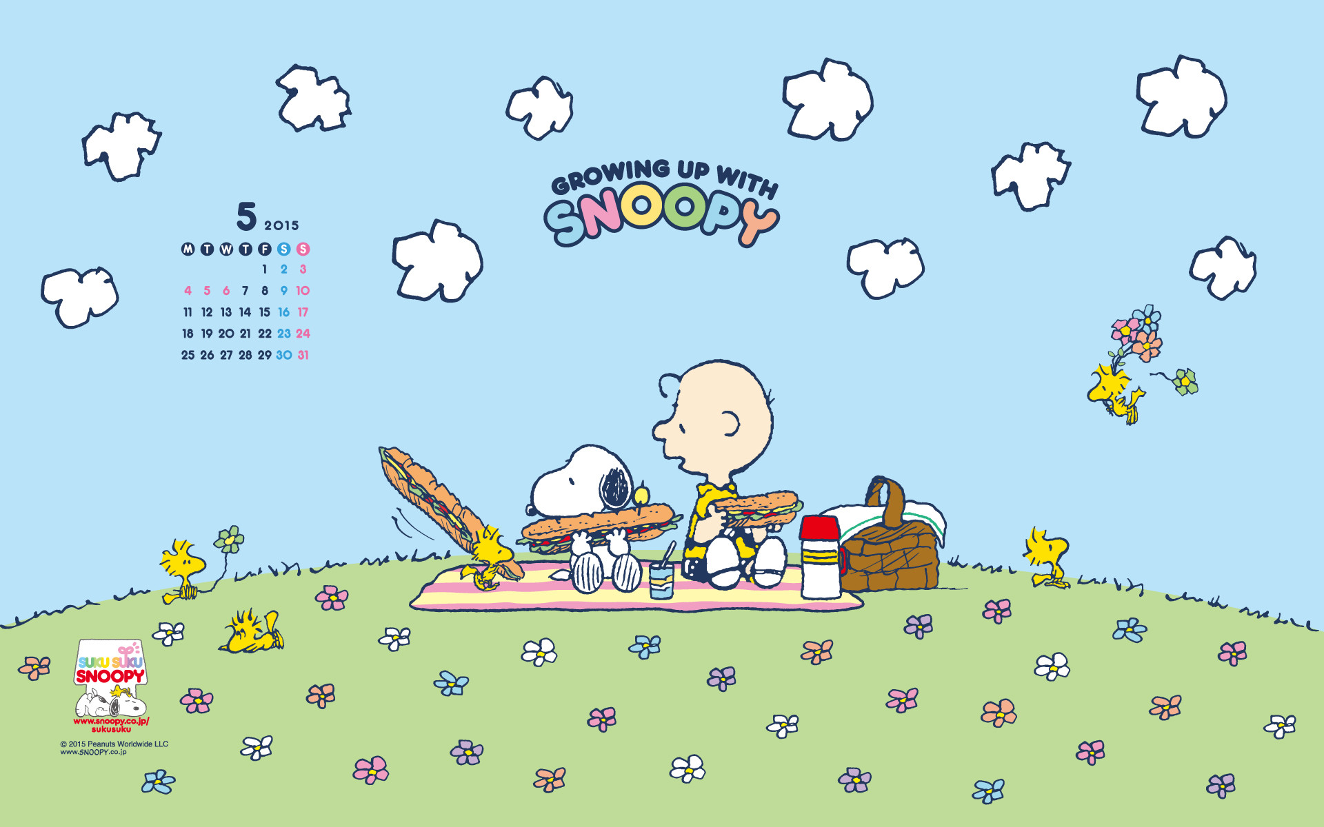 Snoopy, Charlie Brown and the Woodstocks, picnic time.