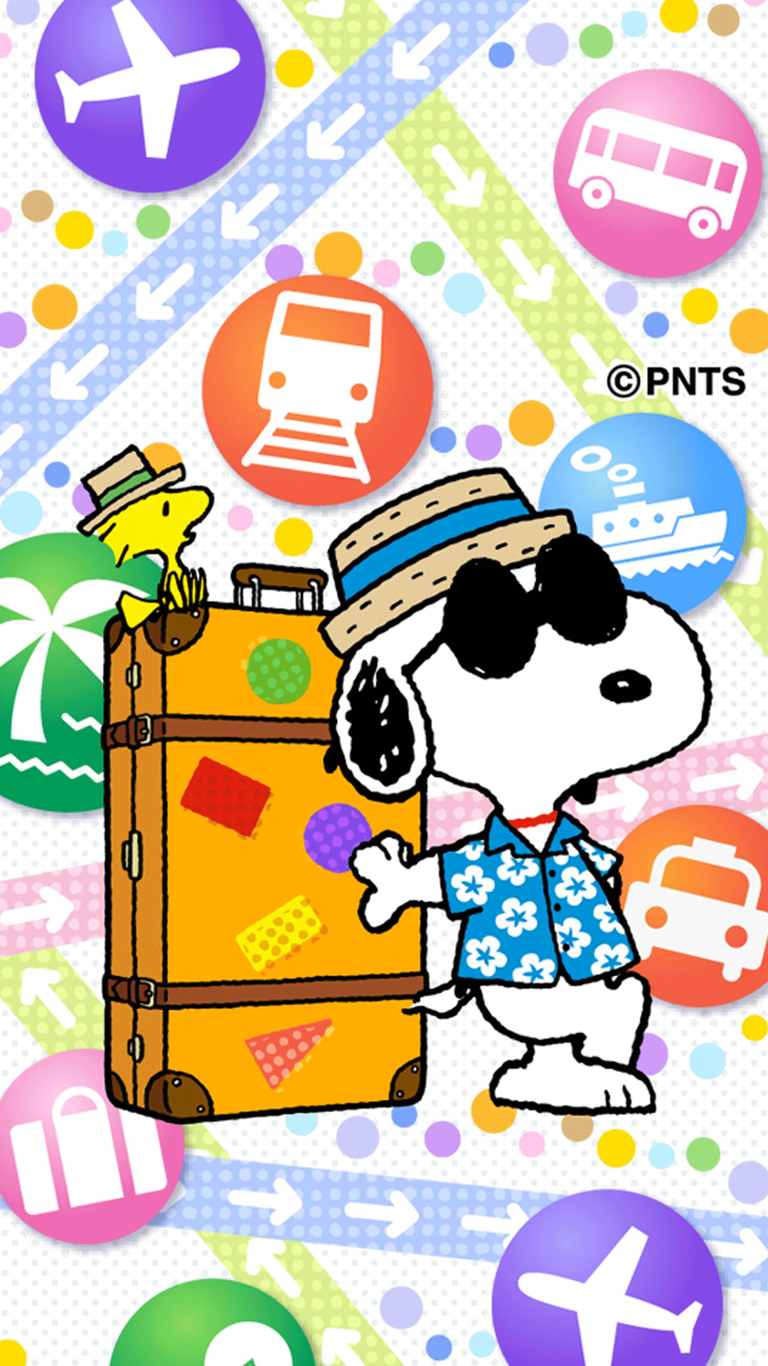 Snoopy and Woodstock With Travel Trunk Wearing Straw Hats and Hawaiian  Shirts on Vacation